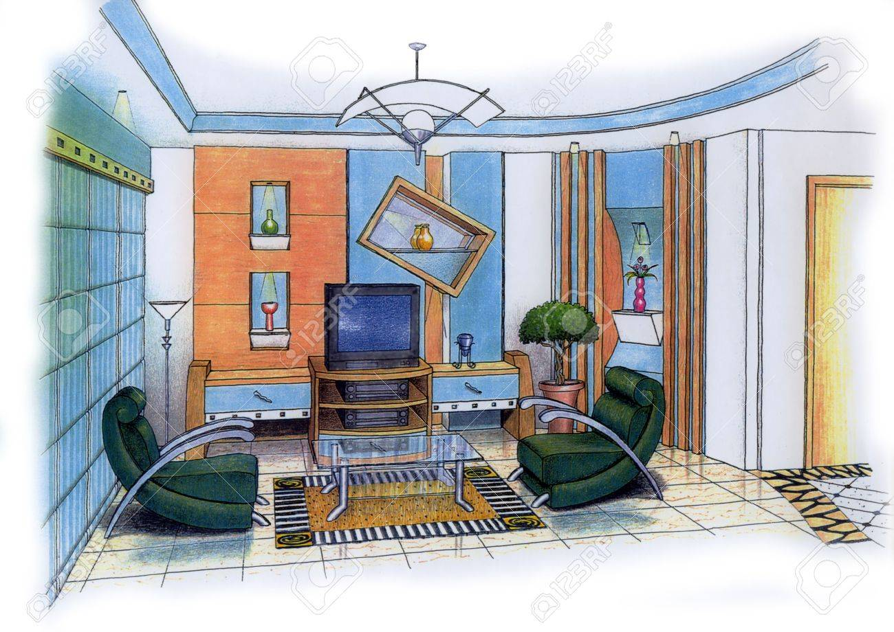 Een kunstenaar eenvoudige schets van een interieur ontwerp van een ...