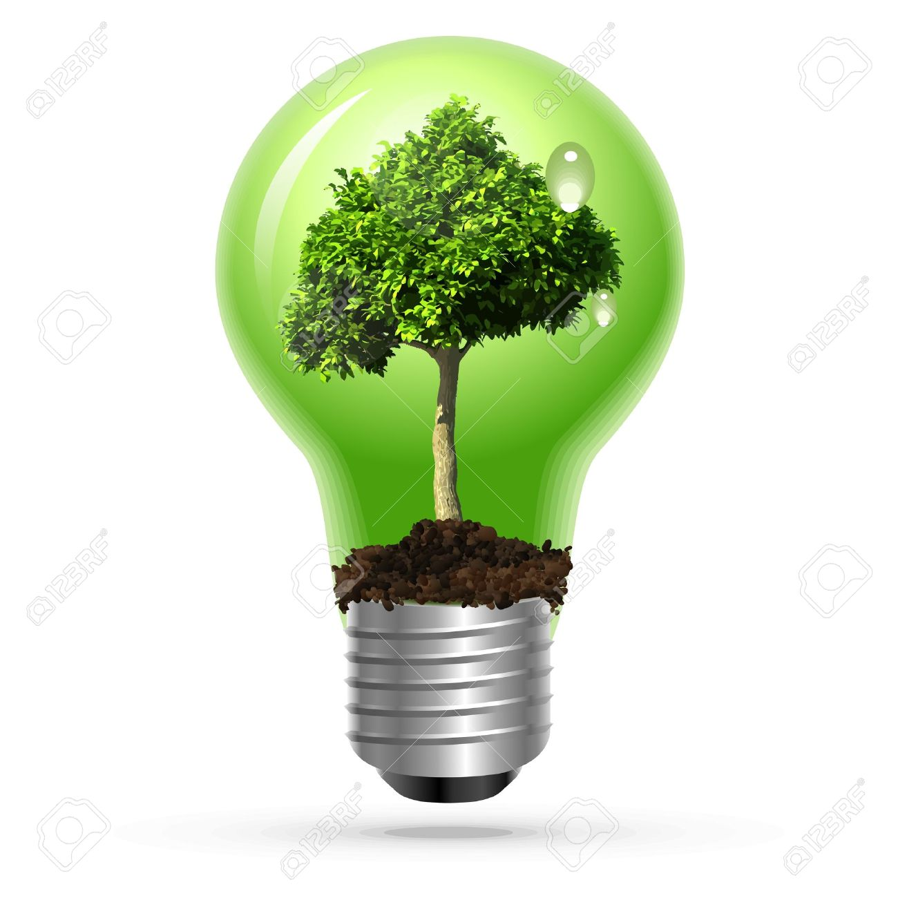 Exceptional Green Tree In Lamp On Isolated Stock Vector   12476833