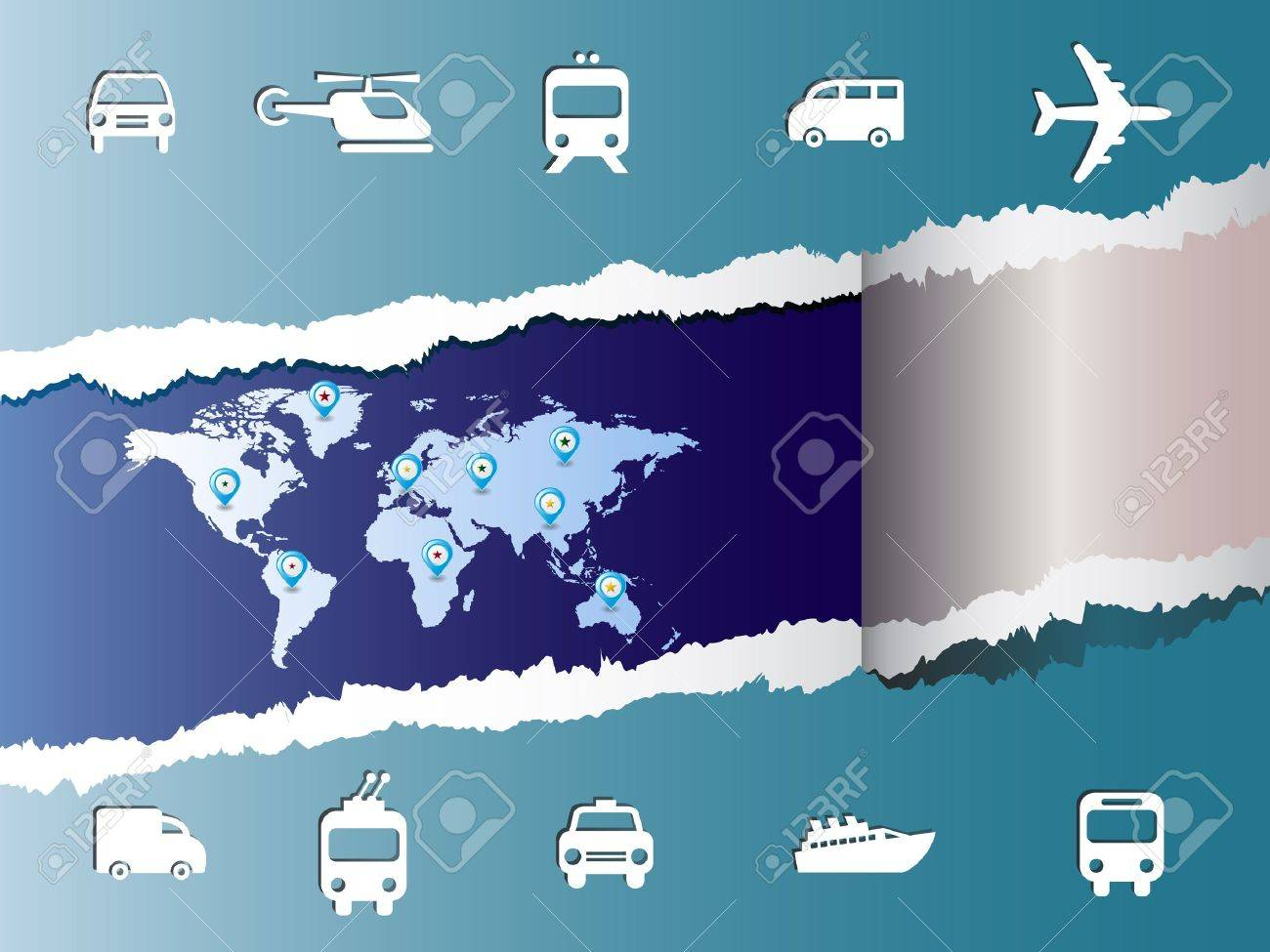 World travel map with icons vector and pin Stock Vector - 12498086