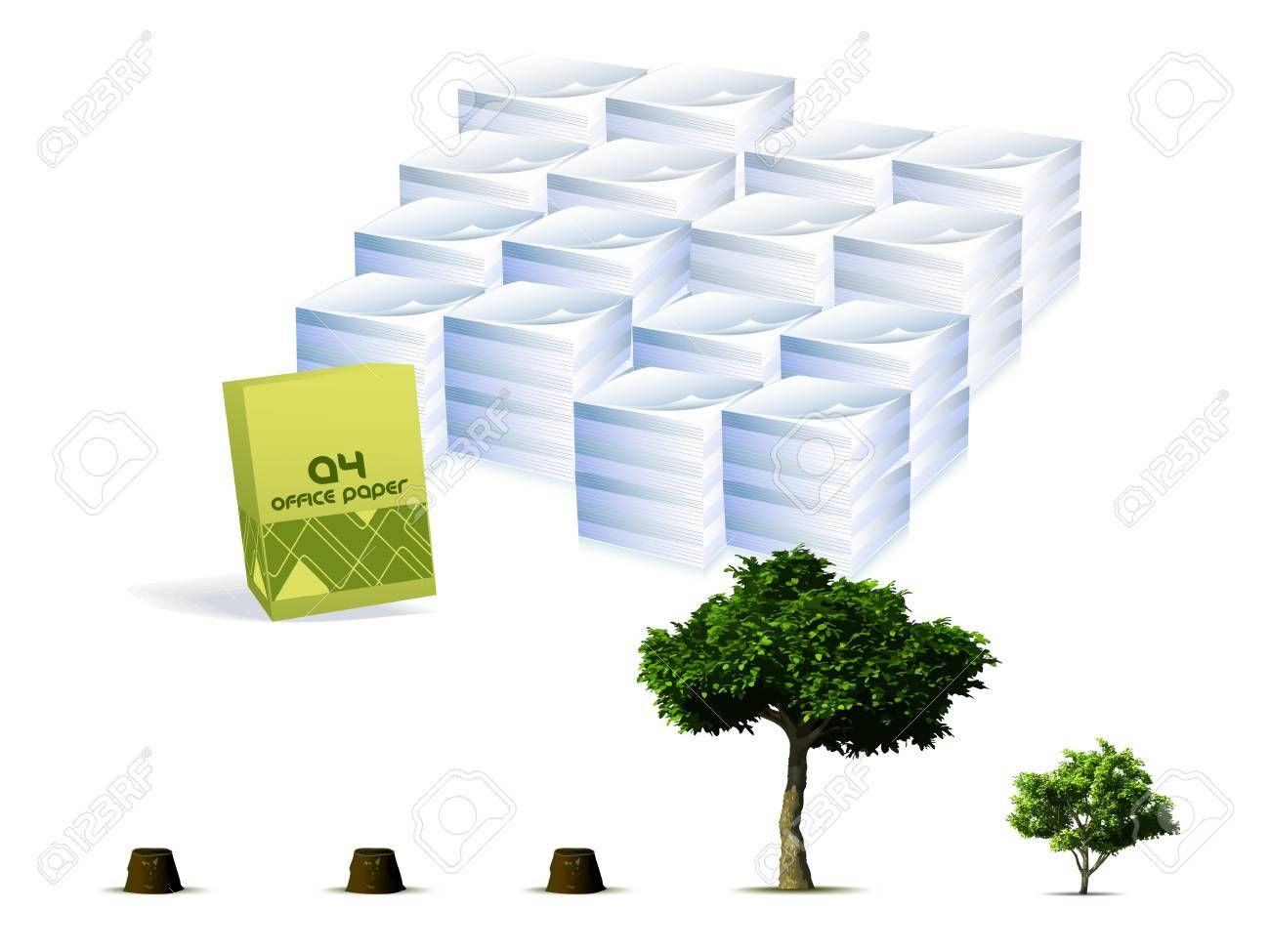 Trees compared to the paper concept Stock Vector - 12812277