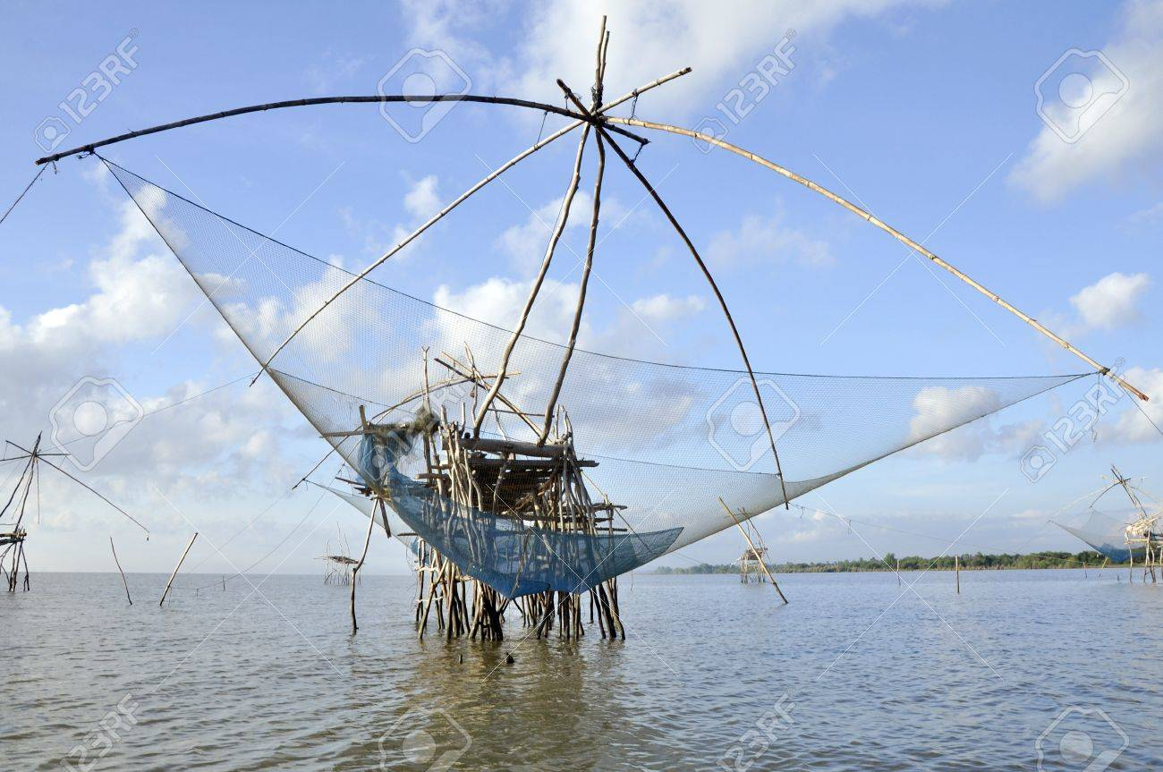 the big of square dip net in Thailand Stock Photo - 13310487