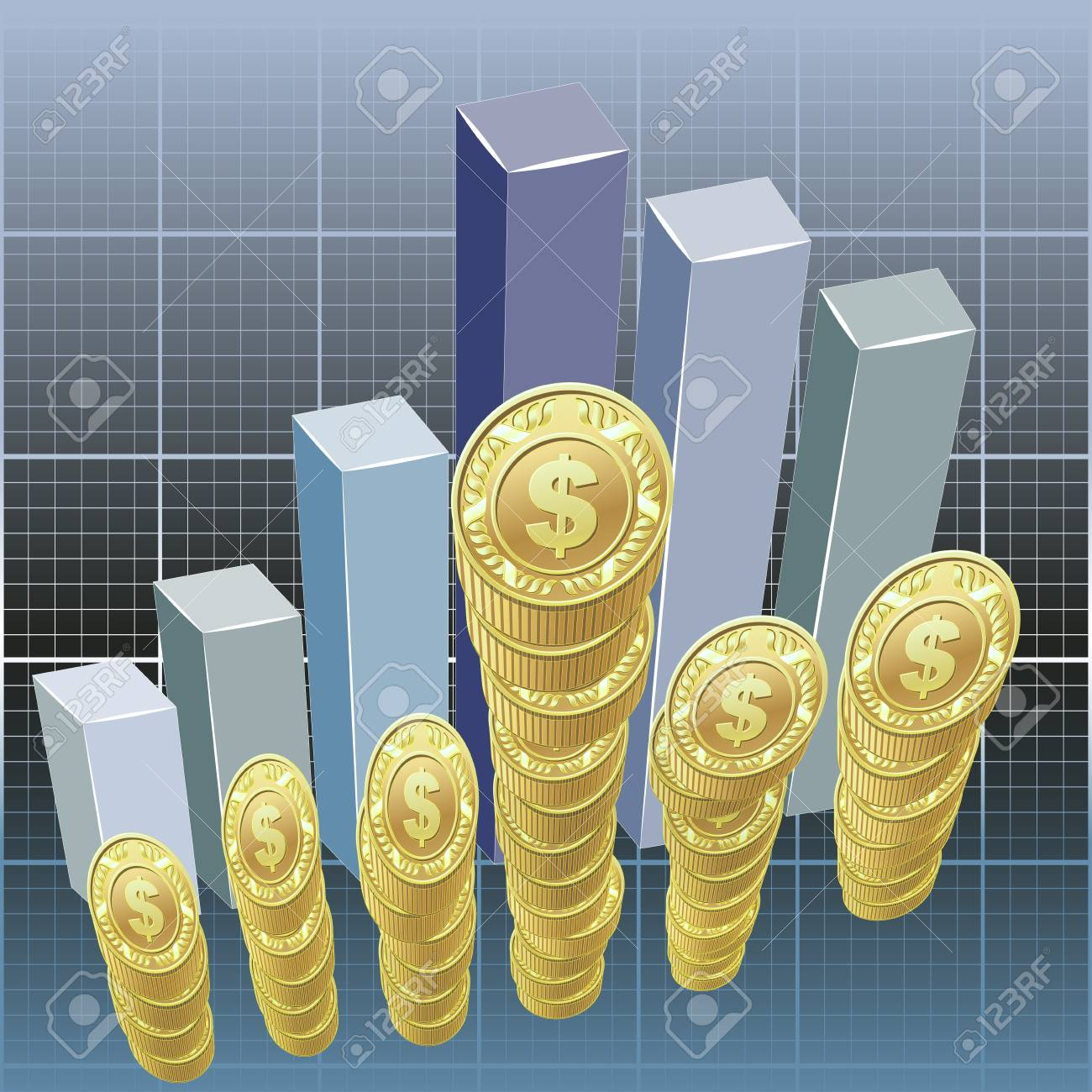 Dollars and bar graph background Stock Vector - 13395023