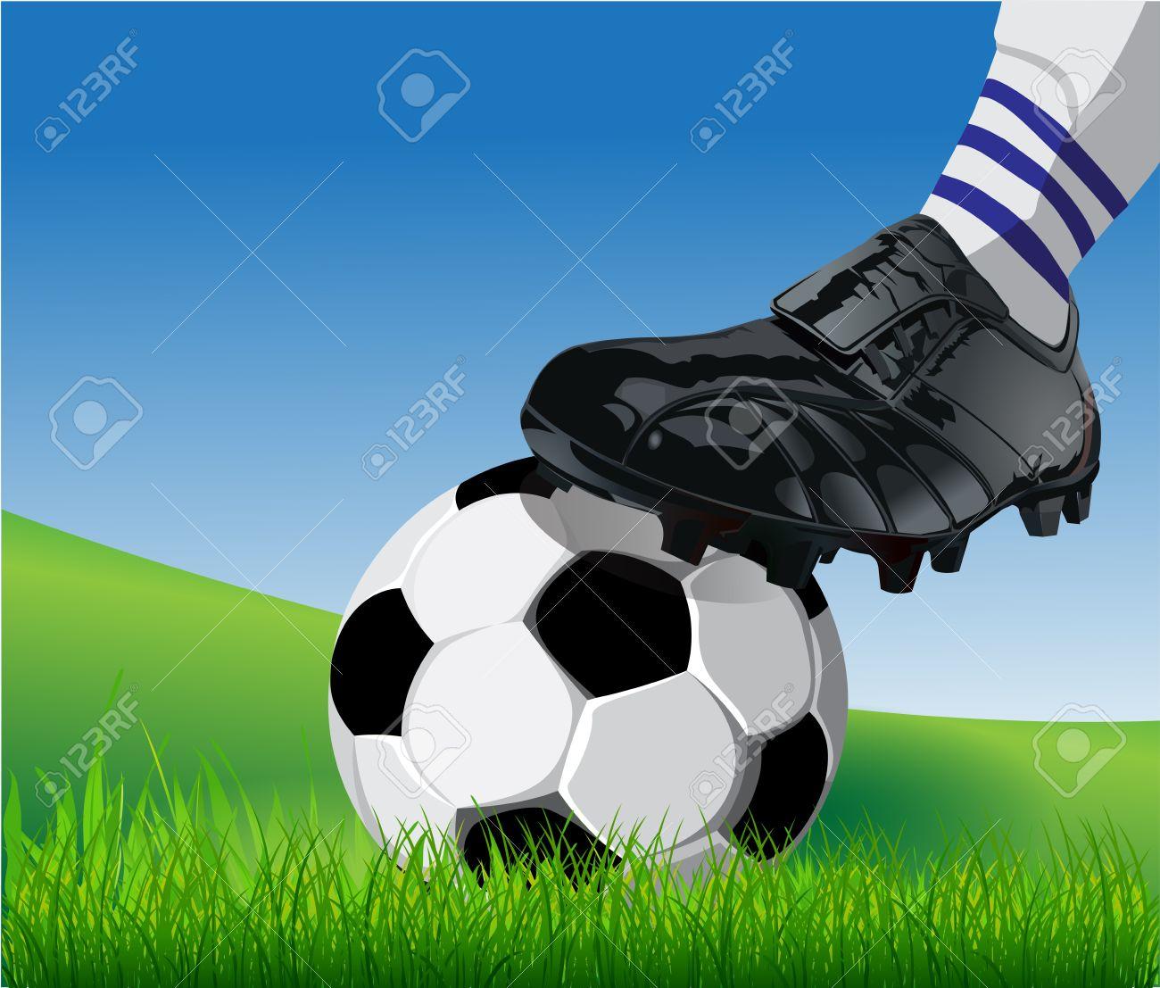 Football or soccer ball at the kickoff of a game Stock Vector - 13496655