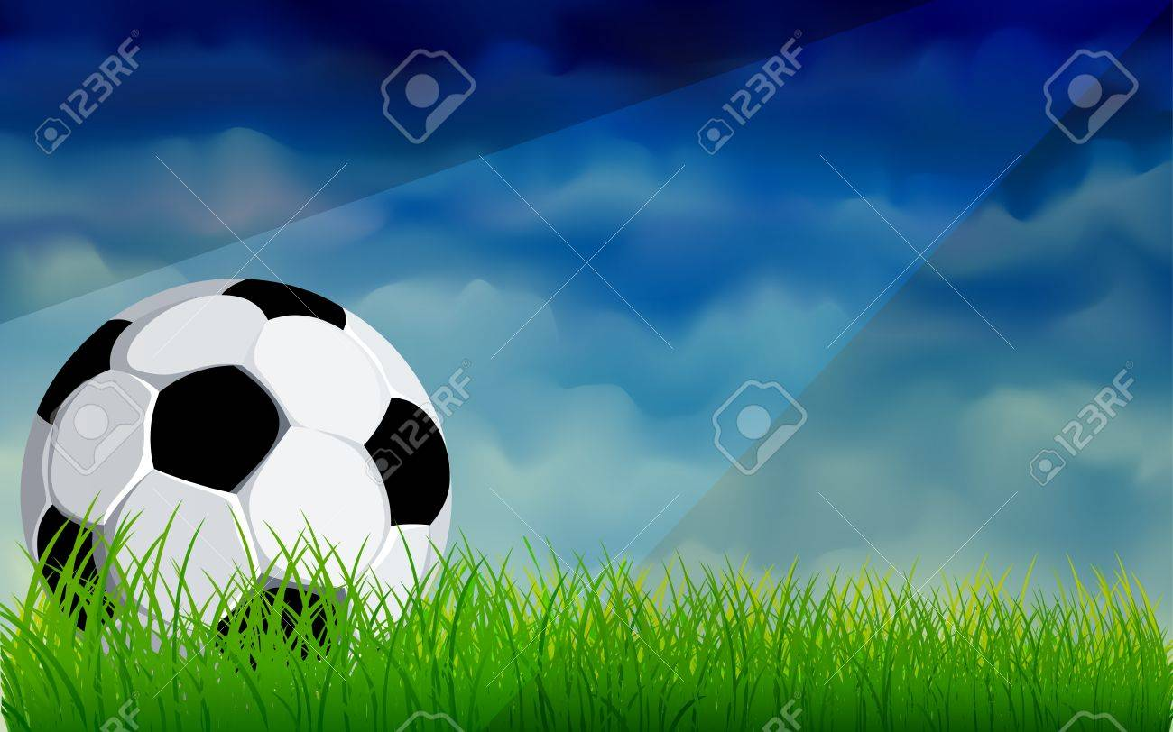 Football or soccer ball on a green lawn with dark sky Stock Vector - 13496669