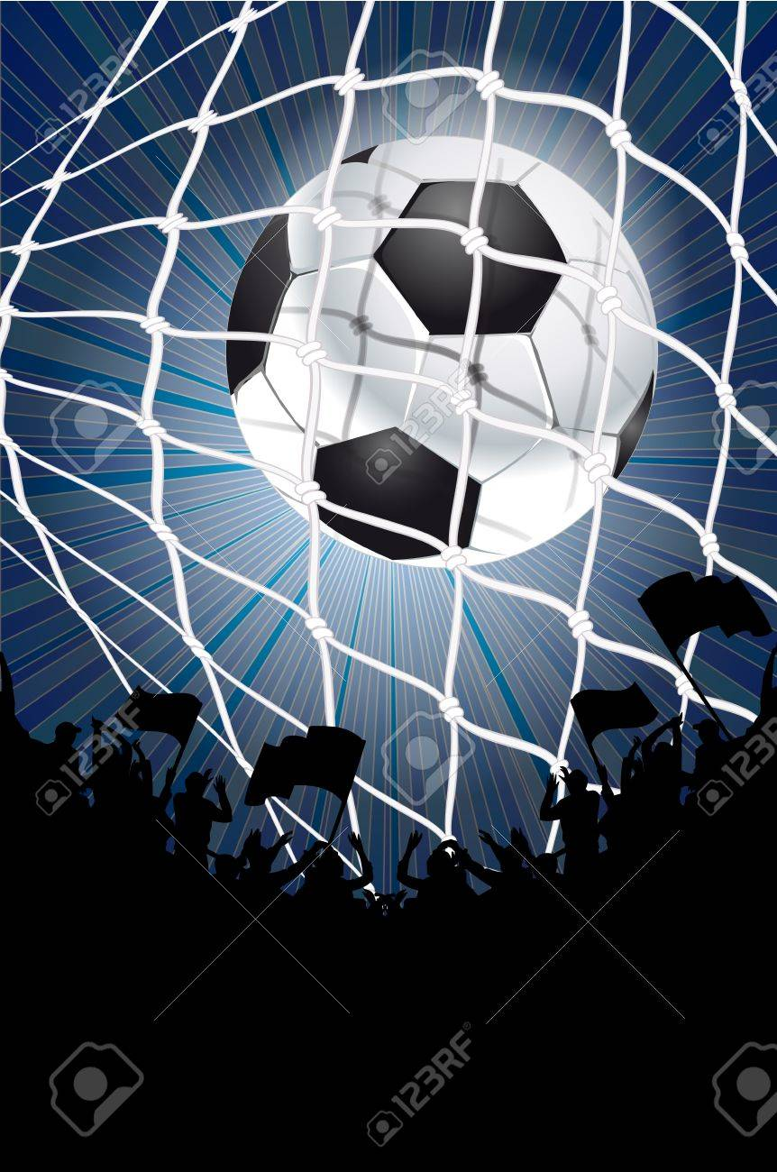 Silhouettes of fans celebrating a goal on football ,soccer match Stock Vector - 13548762