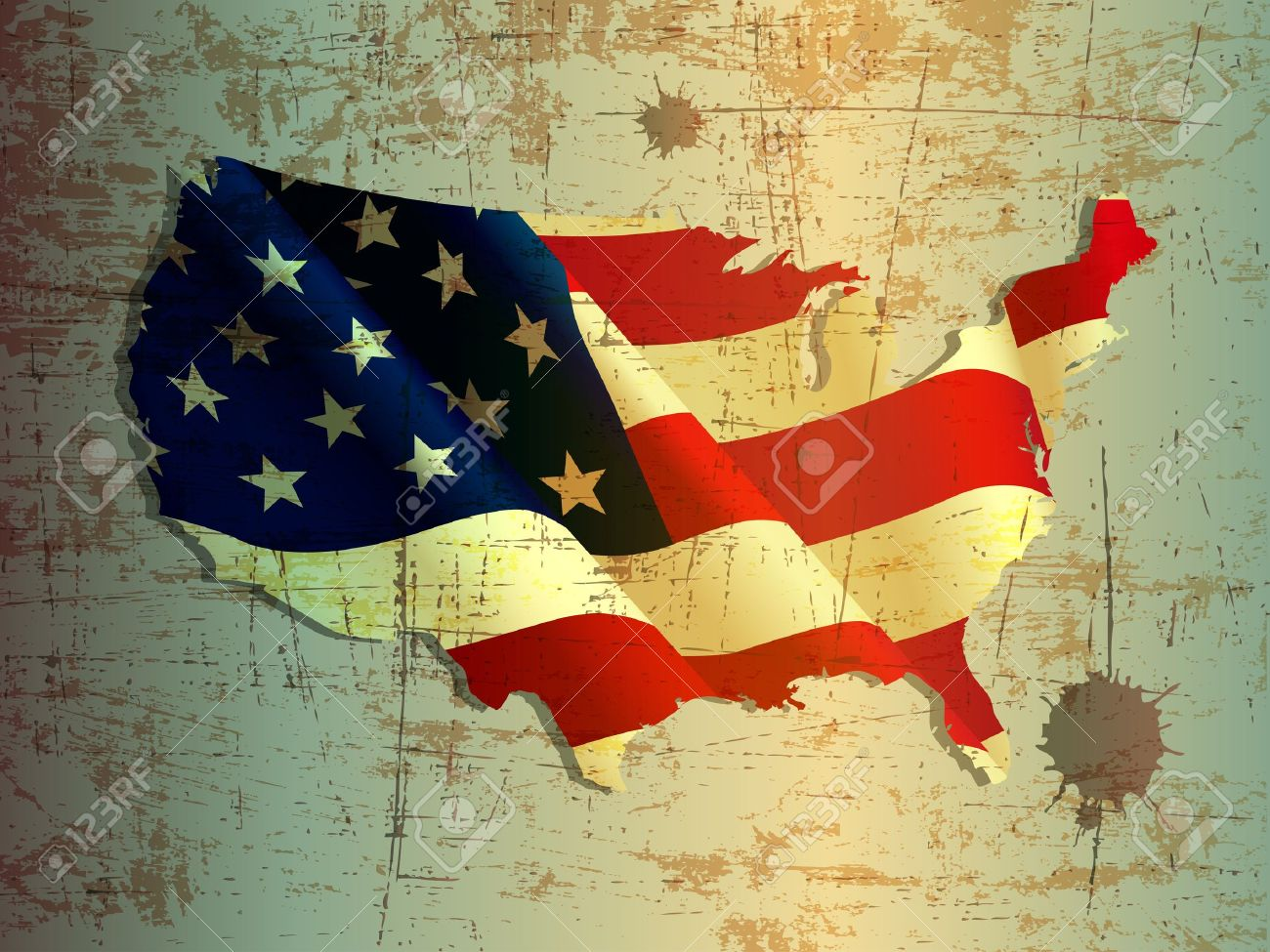 grunge of United States or USA map and flag Stock Vector - 13717341