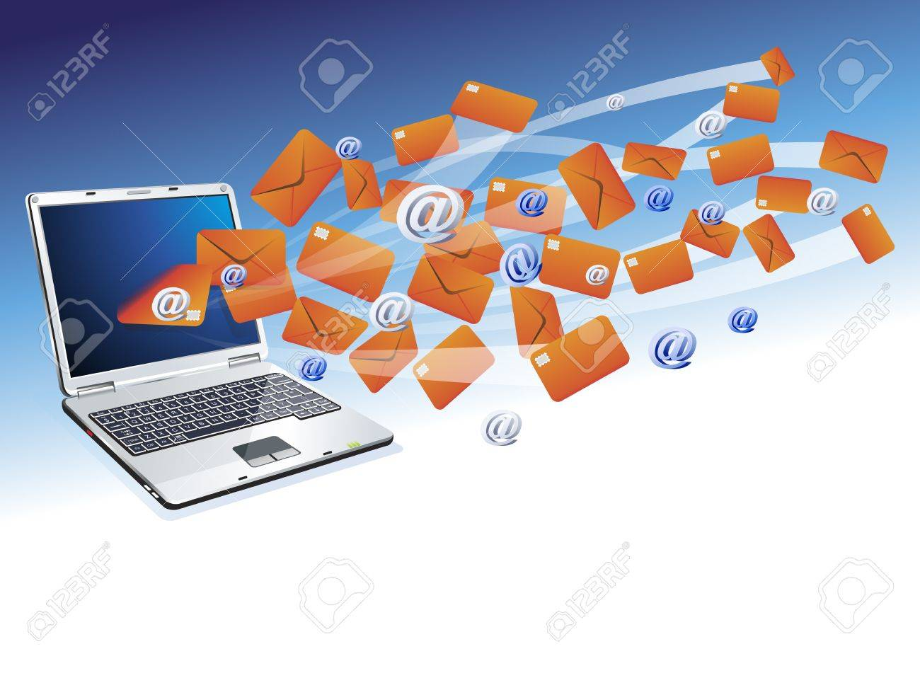 Laptop Computer With Email Correspondence Background, Royalty Free ...