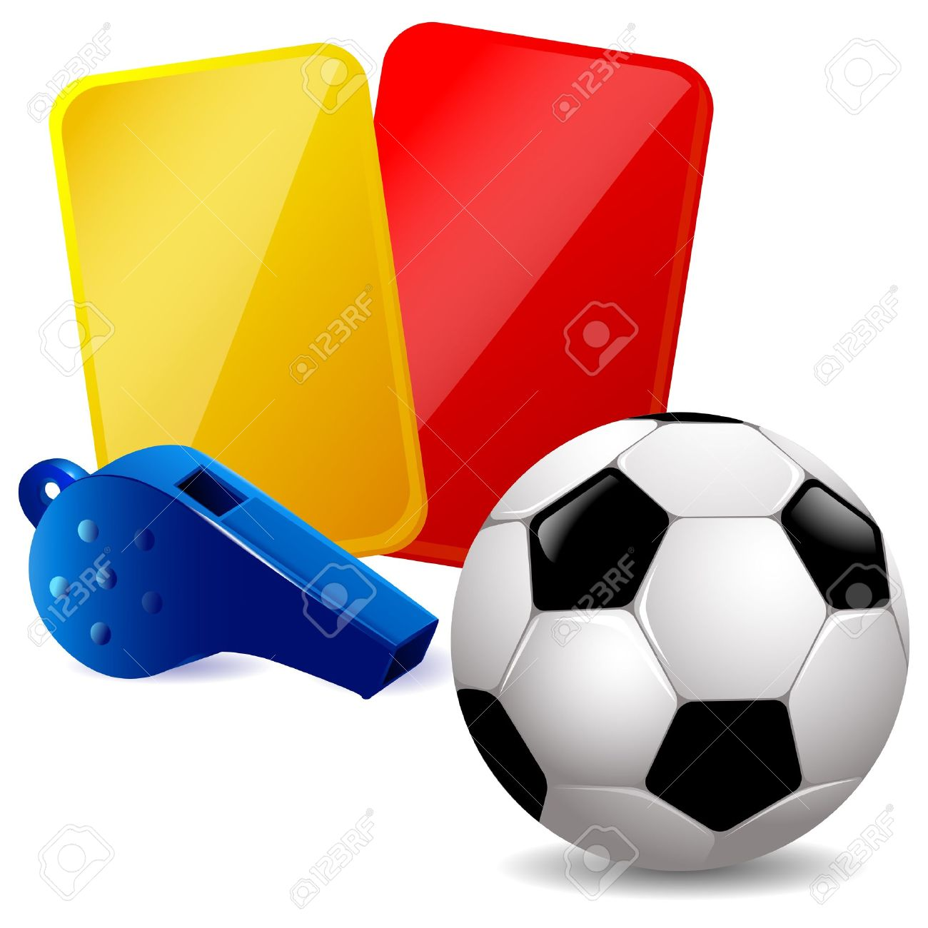 Soccer ball, whistle and red and yellow cards - 13813490