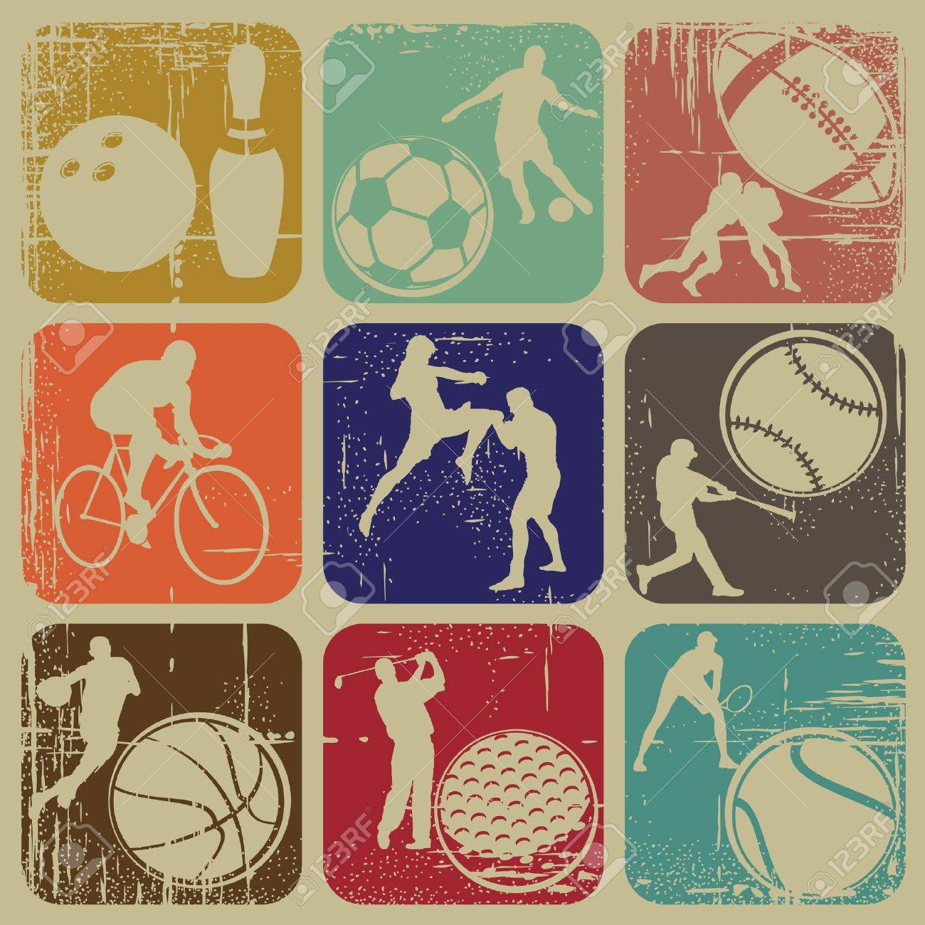 illustration set of sports banners on grunge background Stock Vector - 13840269