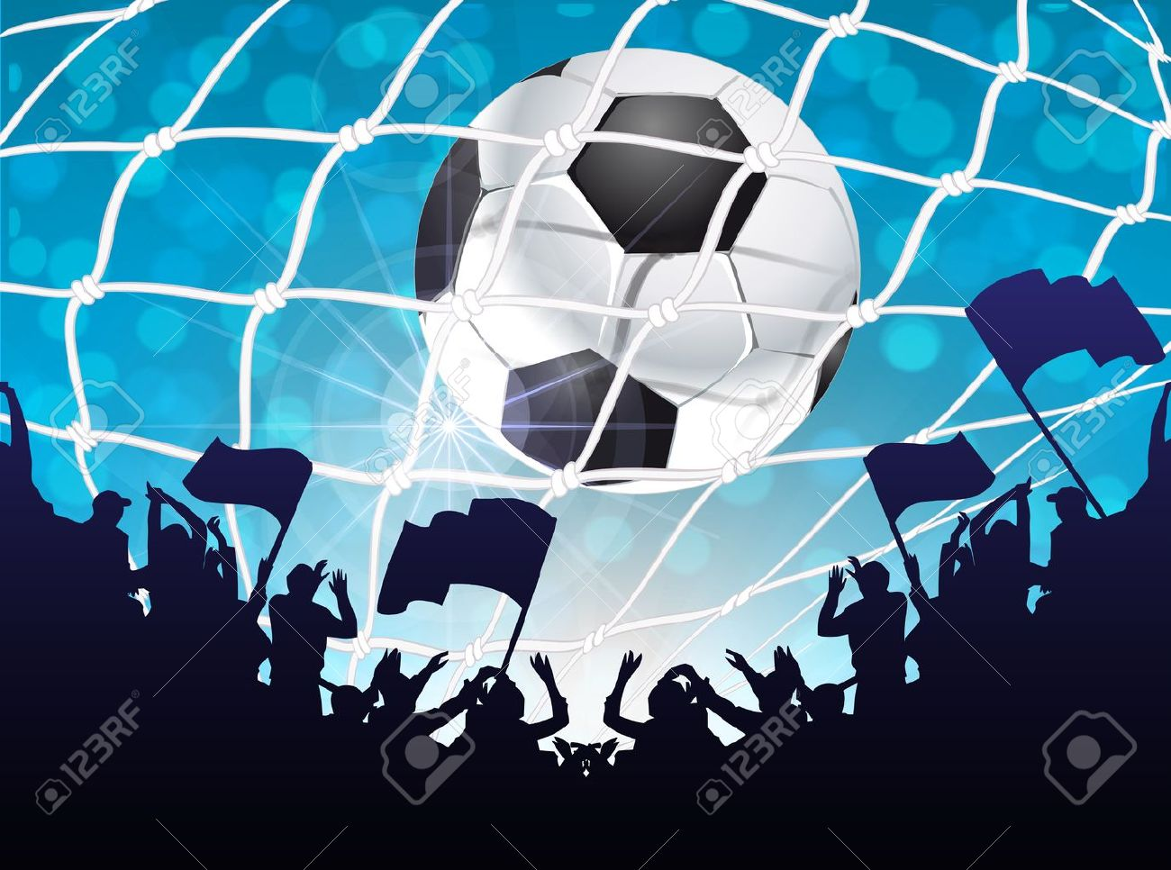 Silhouettes of fans celebrating a goal on football ,soccer match Stock Vector - 13919696