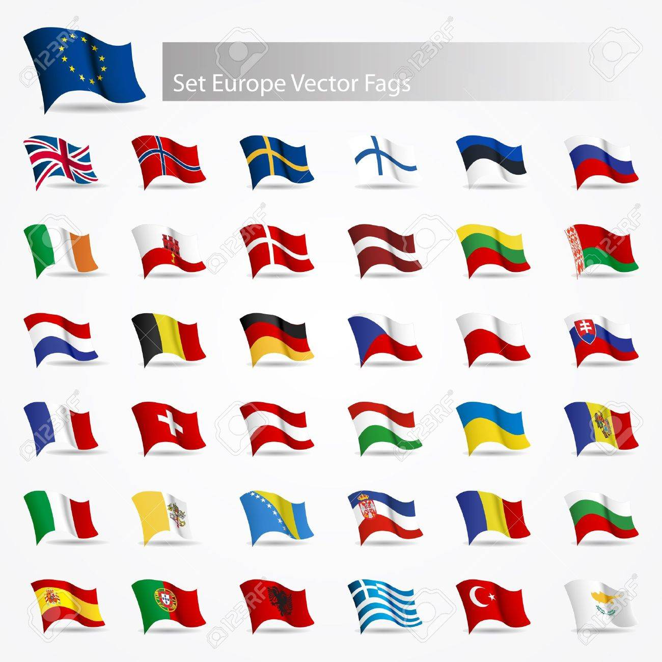Moving flags set Europe flags on white background - 13966202