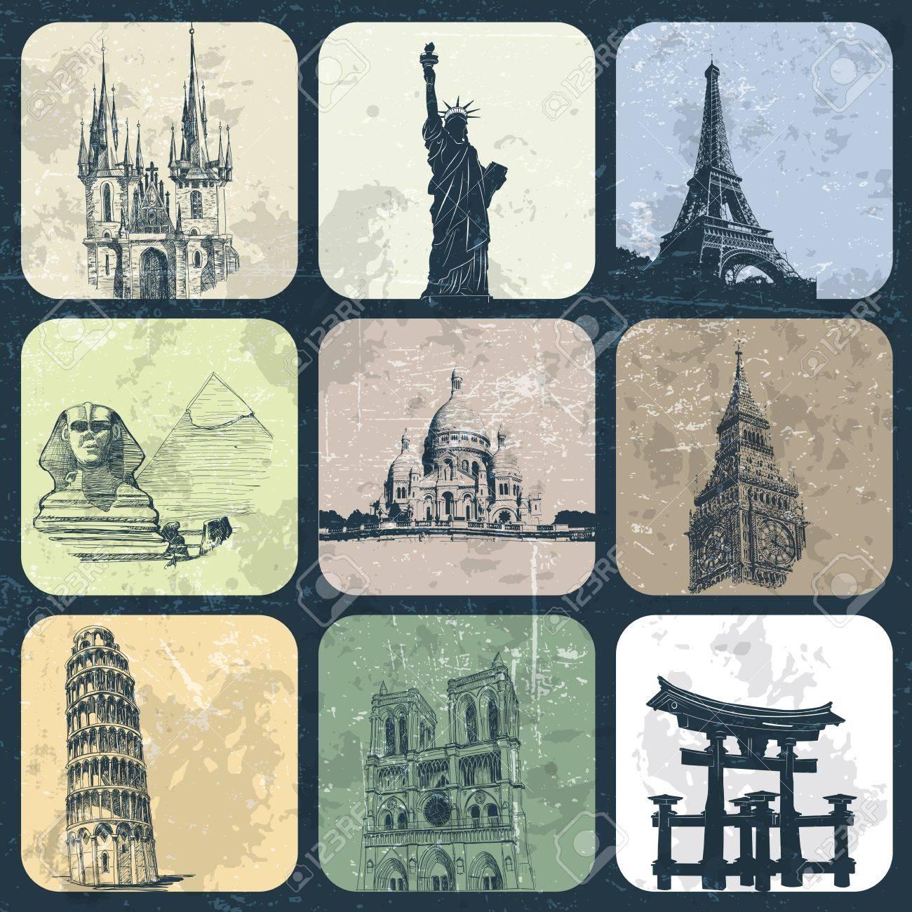 Landmark Europe and Asia on grunge background Stock Vector - 13966203