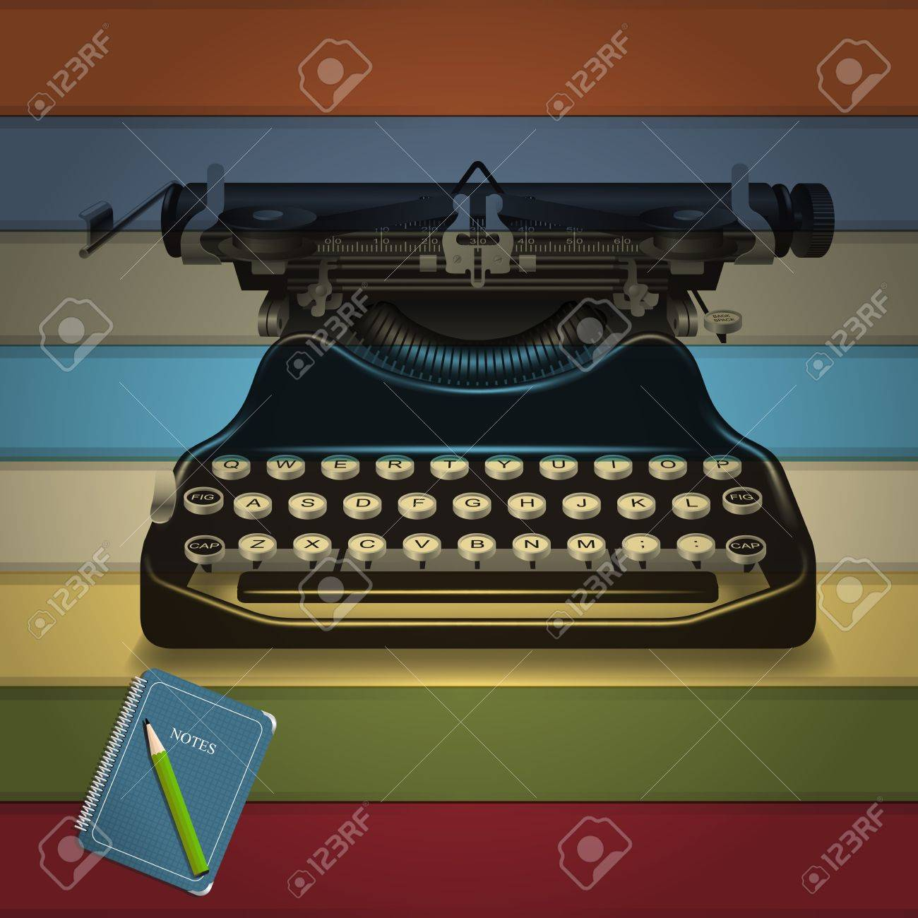Retro Typewriter and notepad memories with colorful background Stock Vector - 14126177