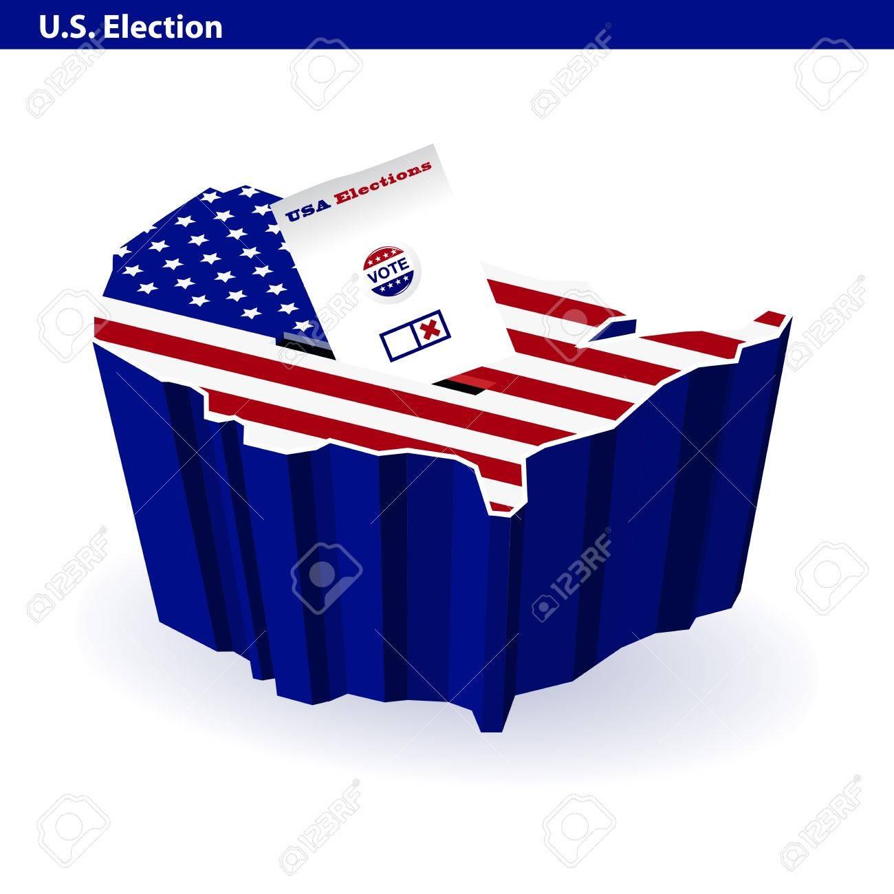 US presidential ballot box usa map shape Stock Vector - 14267297