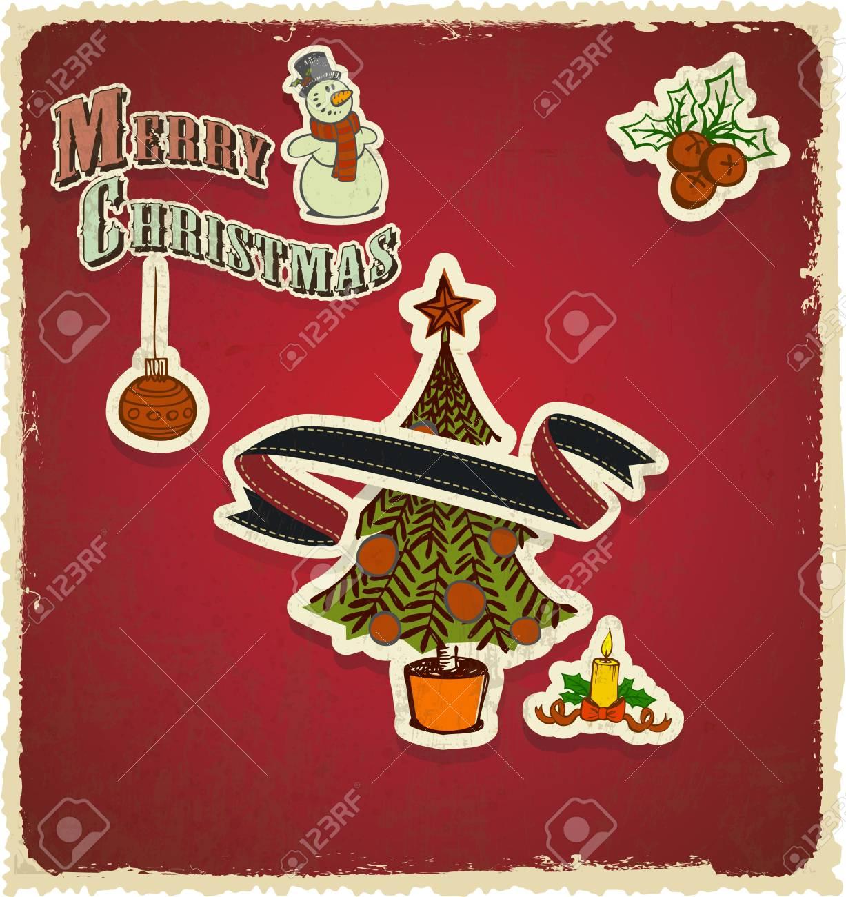 retro vintage christmas tree seasons greetings Stock Vector - 14303382