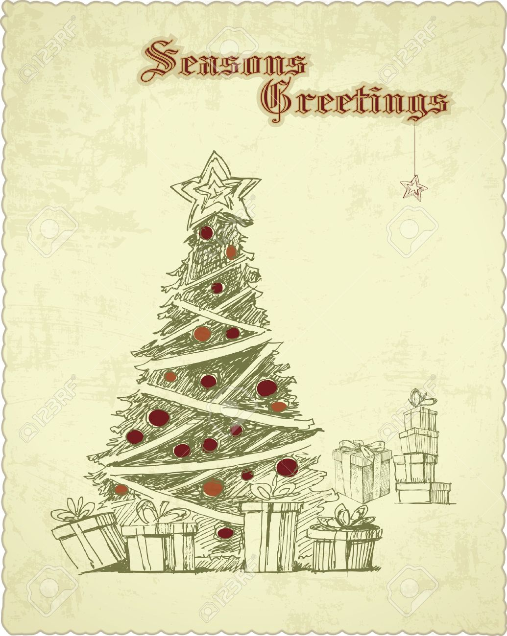 Hand Drawn Vintage Christmas Tree Seasons Greetings Card Royalty ...