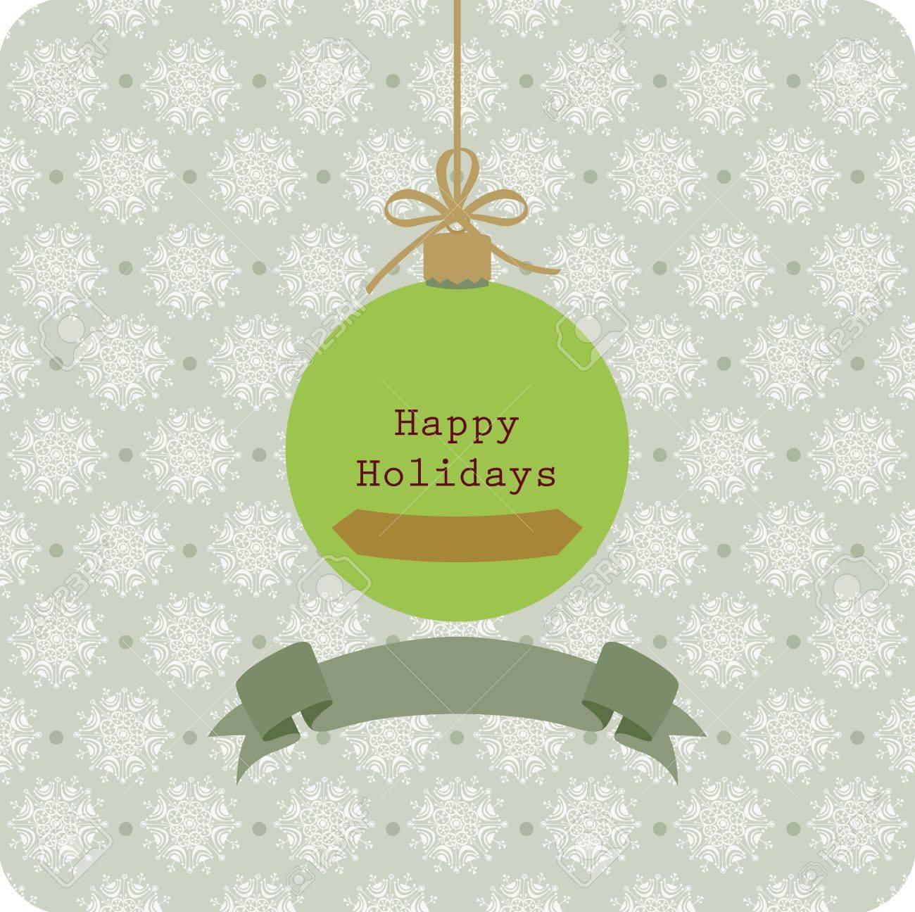 Vintage seasons greetings with Christmas ball and snowflake Stock Vector - 14377321