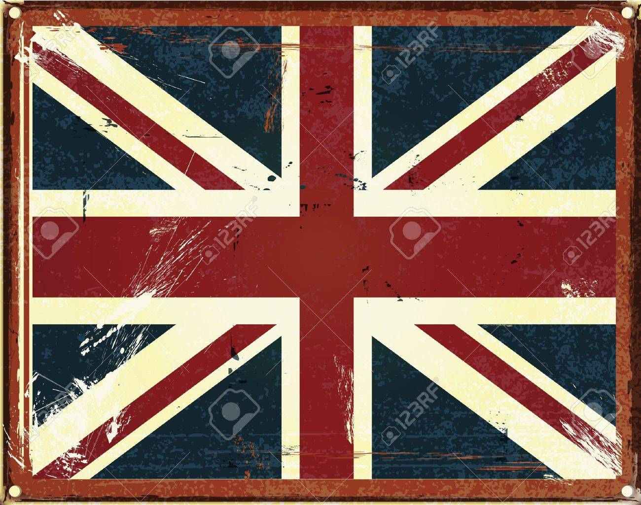 vintage style tin sign with the British Flag Stock Vector - 14377328