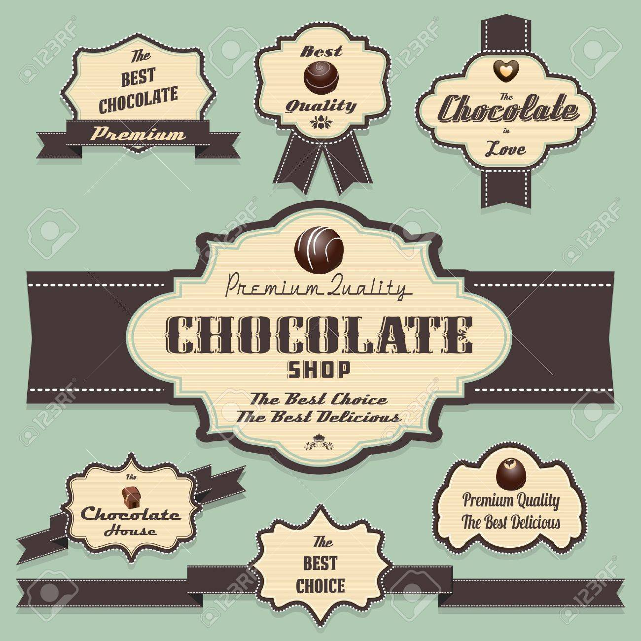 Chocolate labels and badges retro and vintage style collection Stock Vector - 14479789