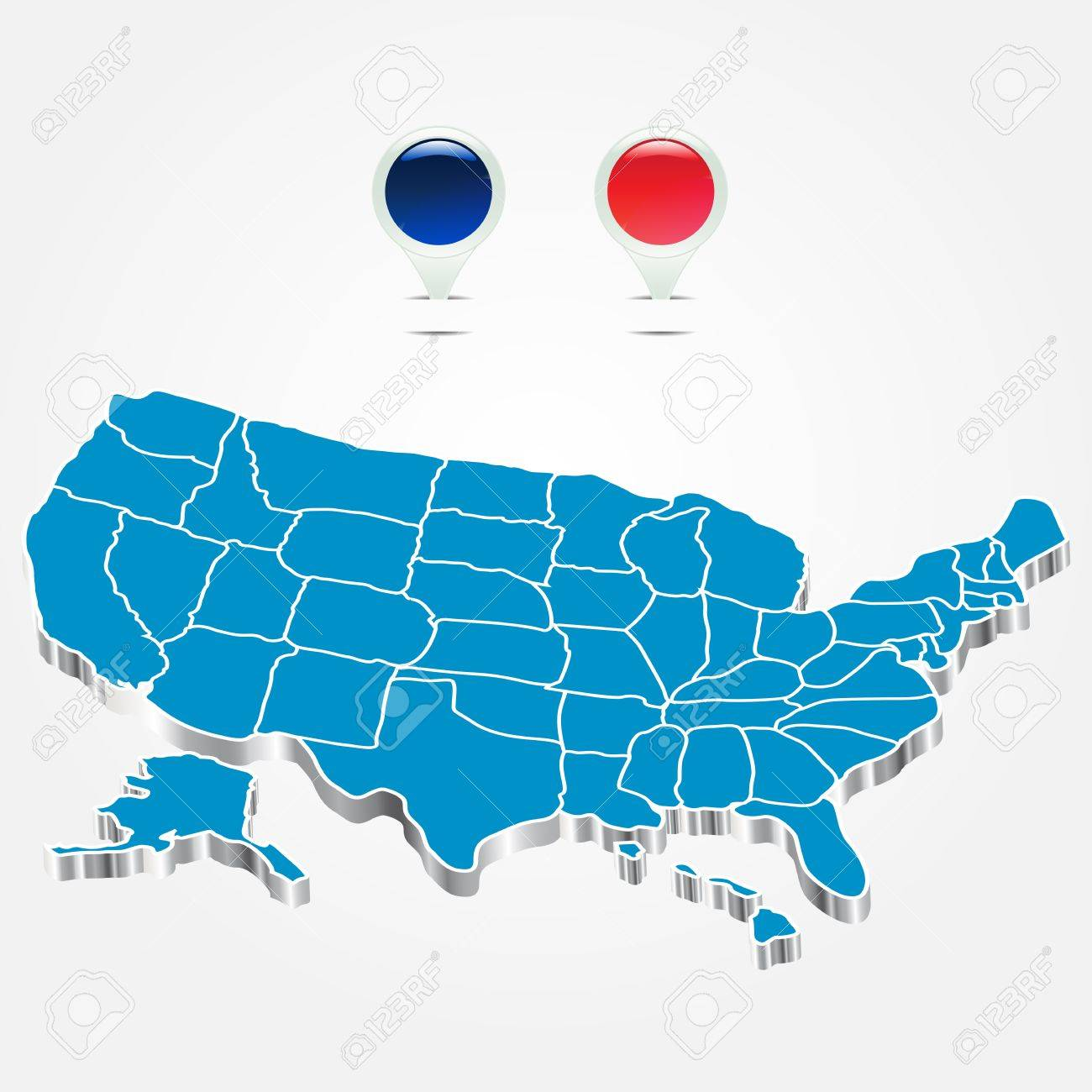 Blue US D State Map Royalty Free Stock Photos Image D - Map of us vector