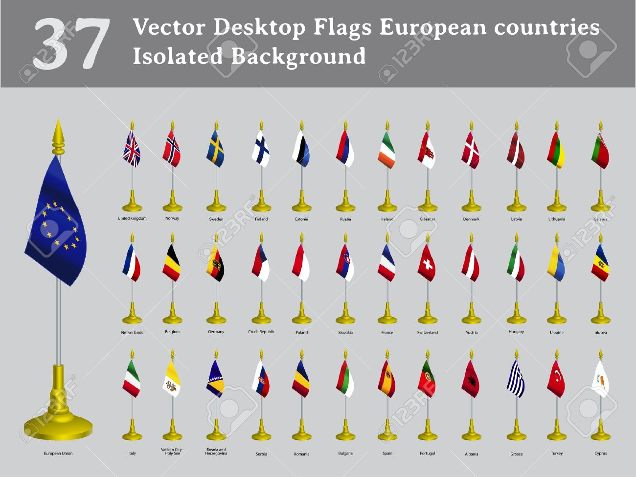 desktop flags European countries isolated background set Stock Vector - 14698918