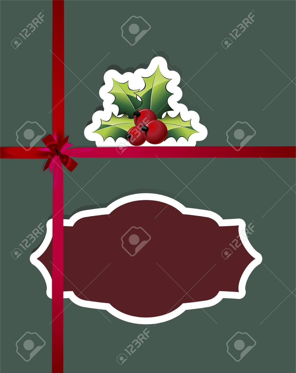 paper cut Christmas cards with holly berry and red ribbons Stock Vector - 14813027