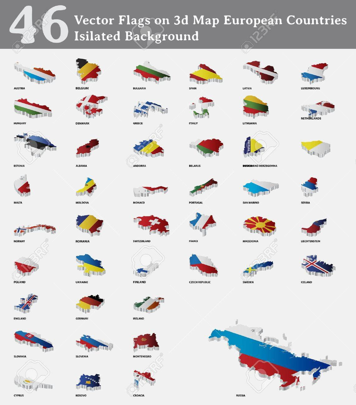 Flags on 3d Map European Countries Isilated Background - 14813028