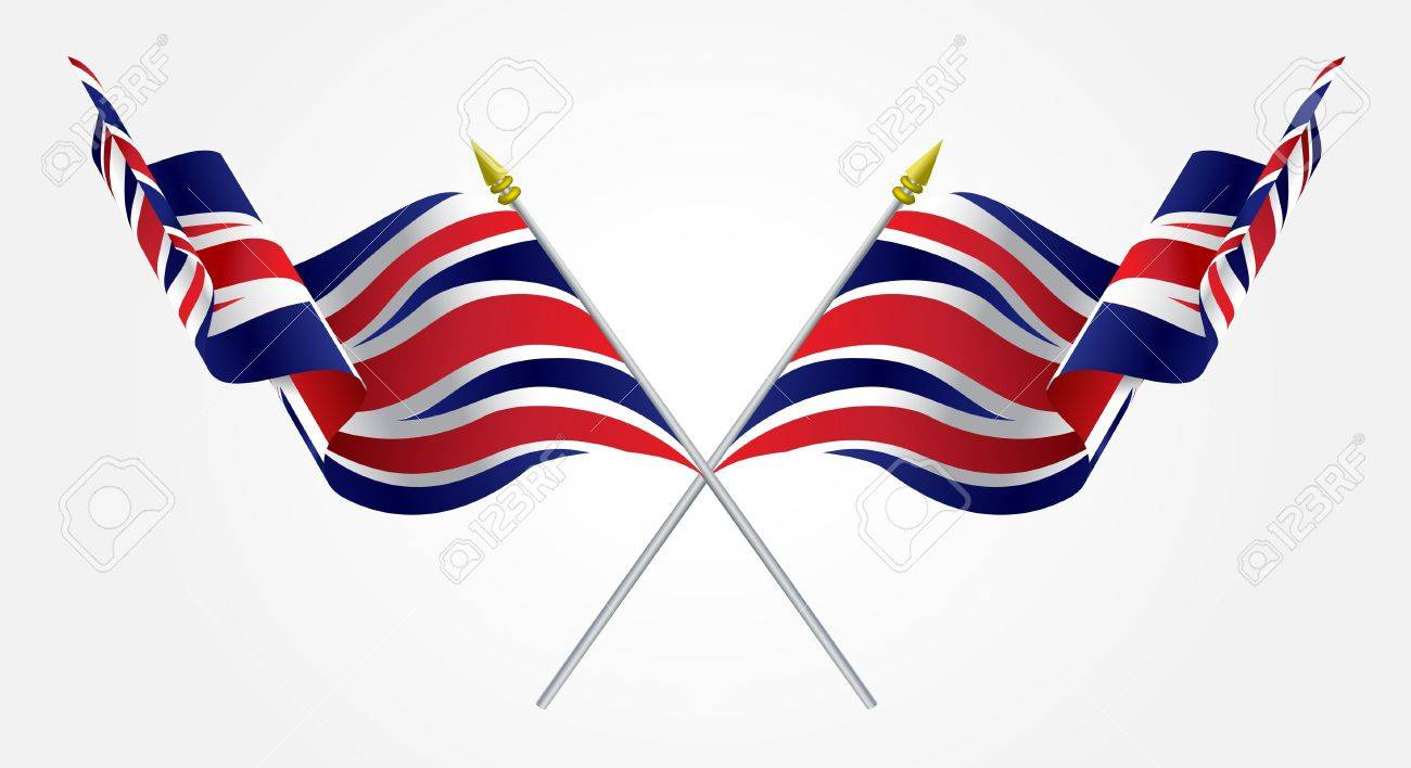 Isolated Twin United Kingdom flags waving on white Stock Vector - 14975447