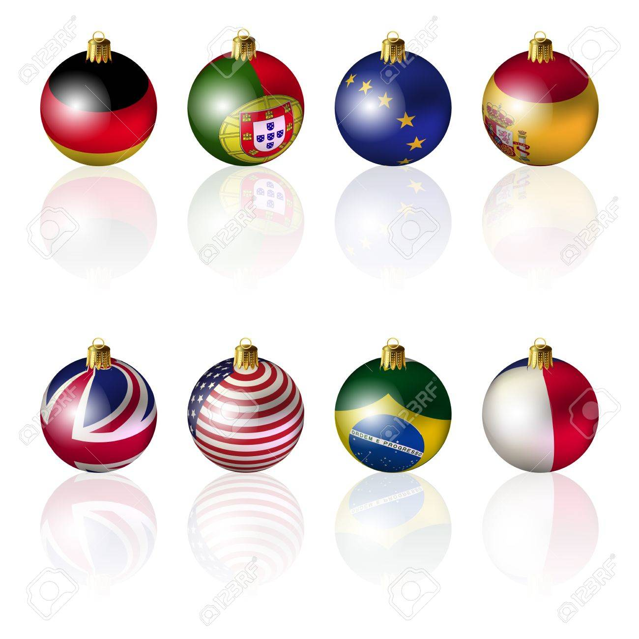 Isolated International Christmas Balls On White Background Royalty ...