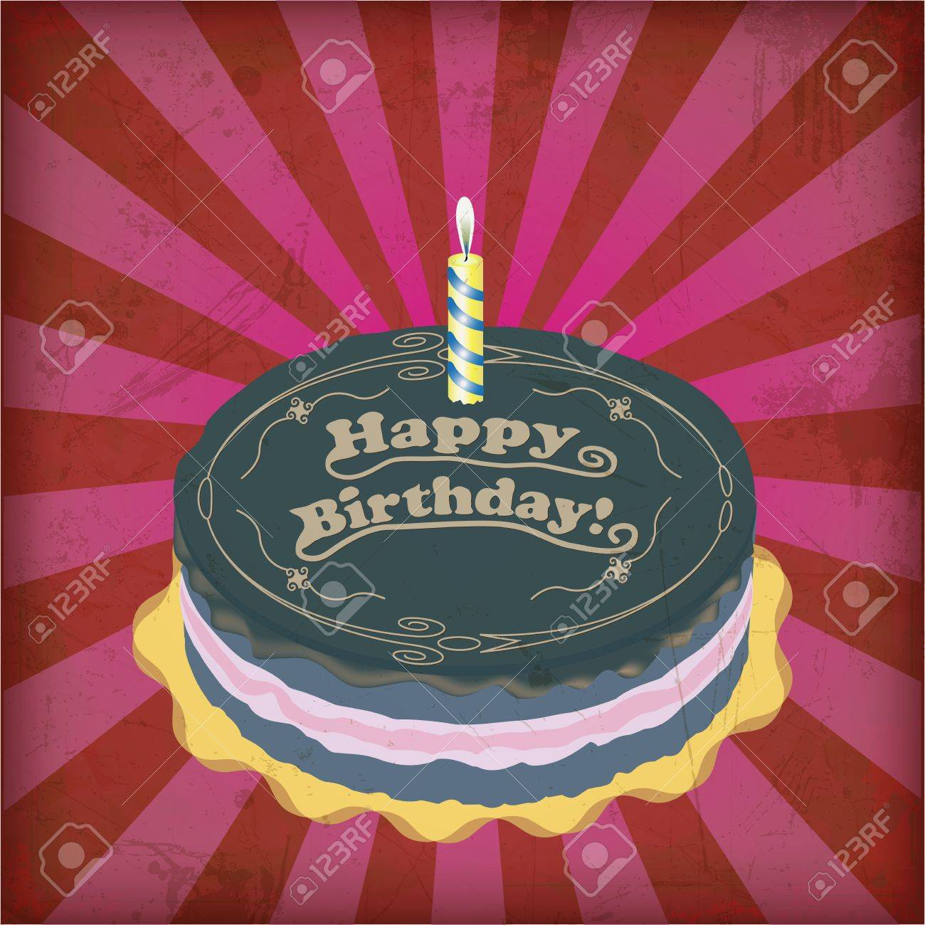Vintage Birthday Cake With Grunge Effect Royalty Free Cliparts