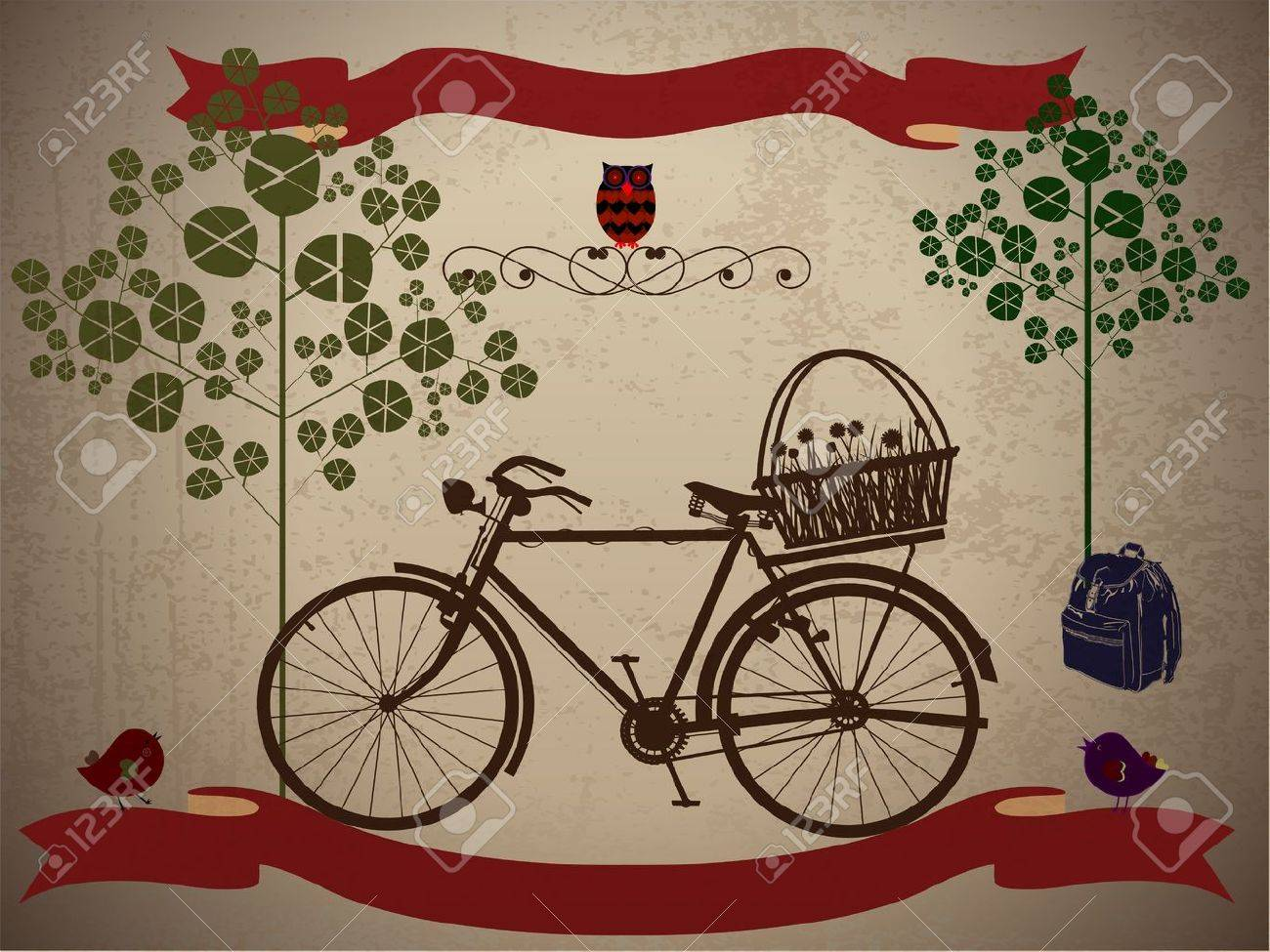 Riding a bike in style, on holiday with Grunge Effect Stock Vector - 15397358
