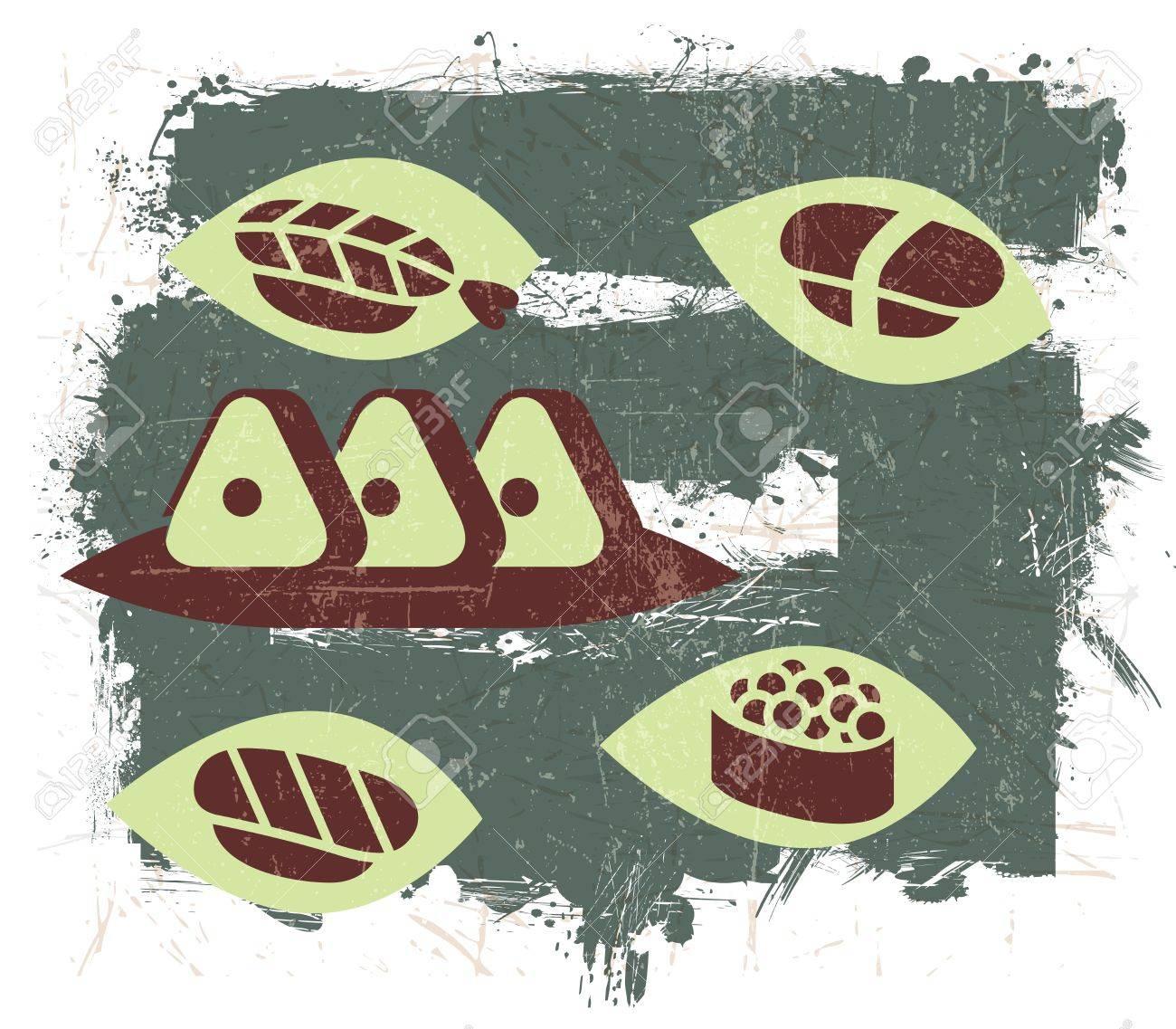 Vintage Sushi illustration with Grunge Effect Stock Vector - 15397357
