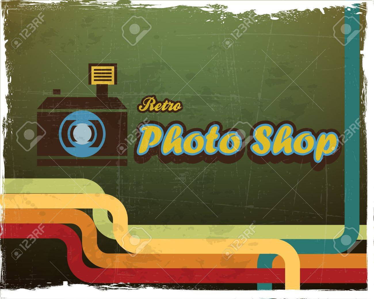 Grunge Camera Effect : Vintage poster with camera and grunge effect royalty free cliparts