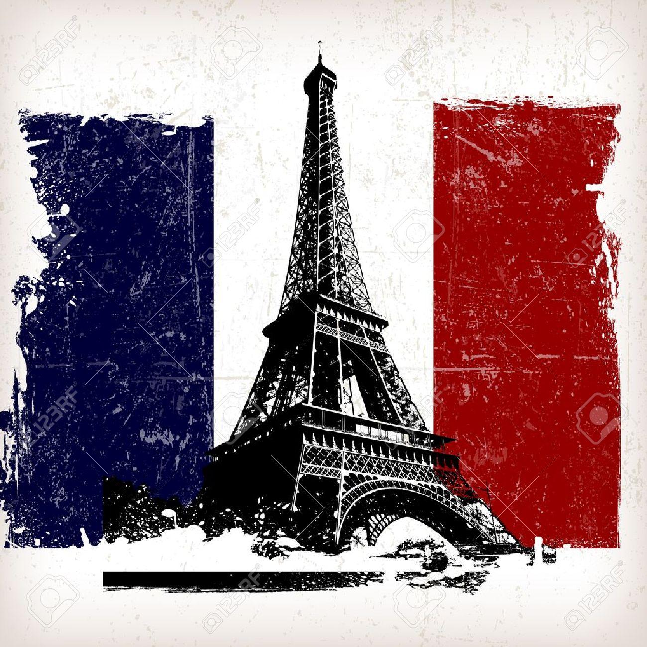 ilustración torre Eiffel sobre Francia, marca con efecto grunge Foto de archivo - 15758416