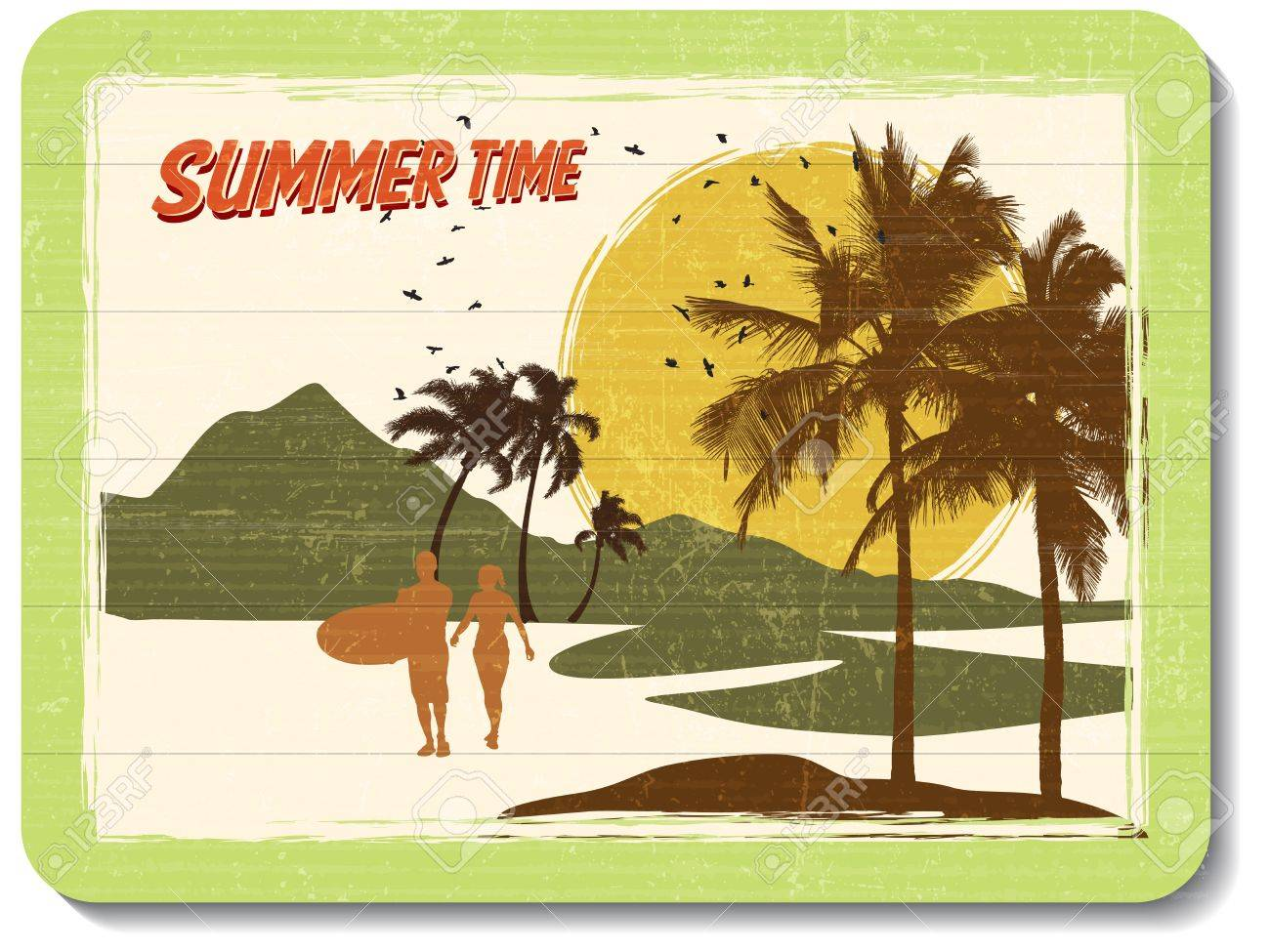 Vintage Wooden Decoration Wall With Summer Time Royalty Free ...