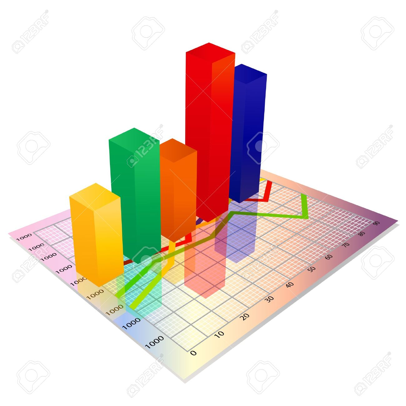 3d business Glassy colorful graph,Bar chart - 15899039
