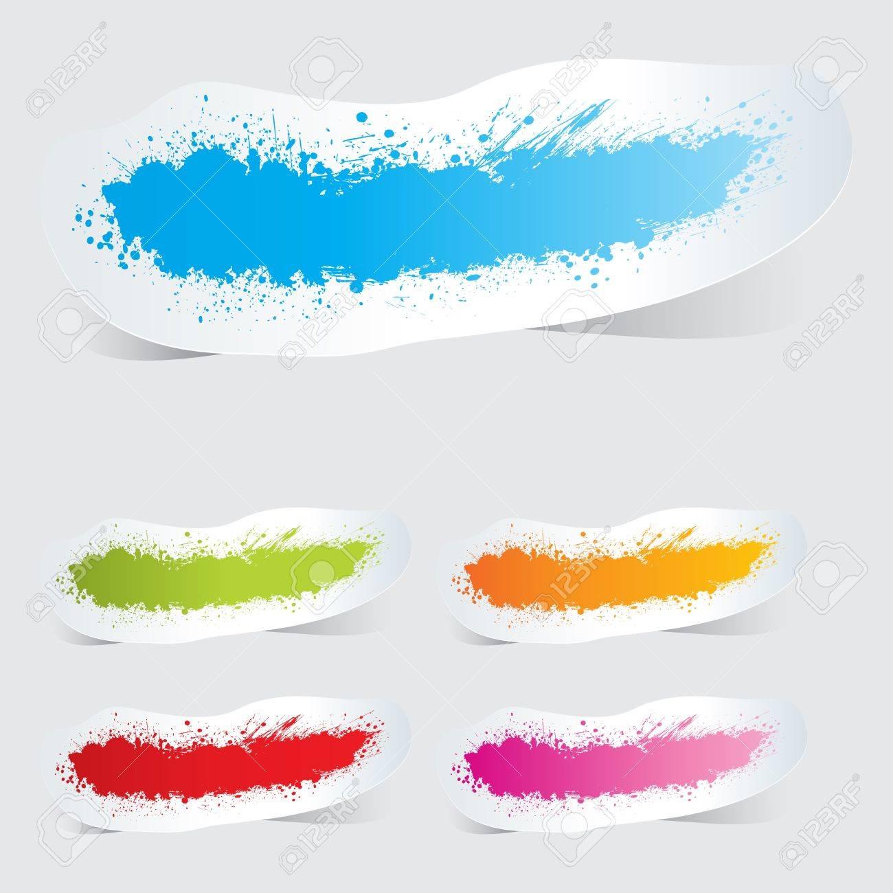 Colorful label paper grunge brush stroke Stock Vector - 15899047