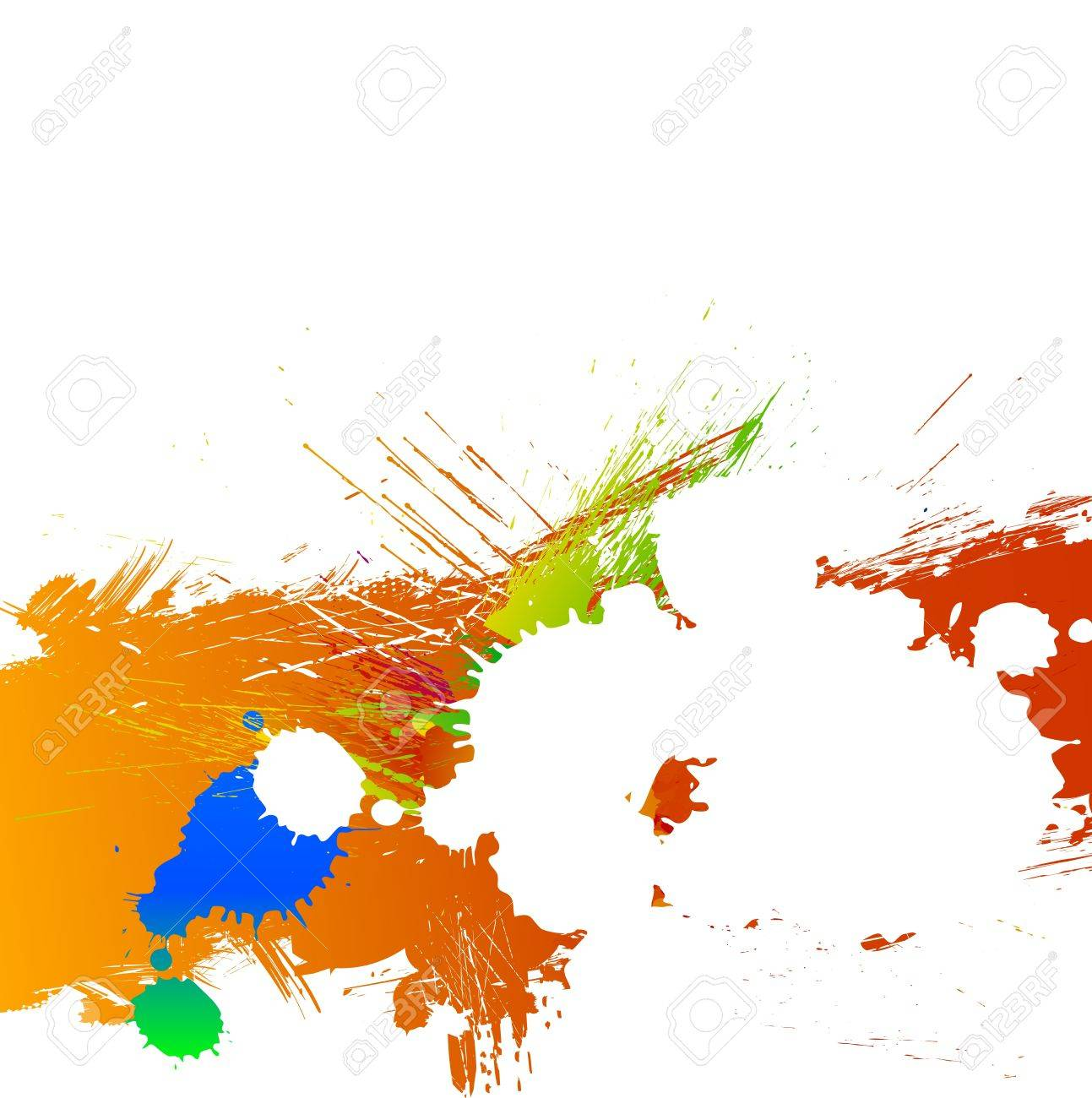 Colorful bright ink splashes and grunge background Stock Vector - 15976363