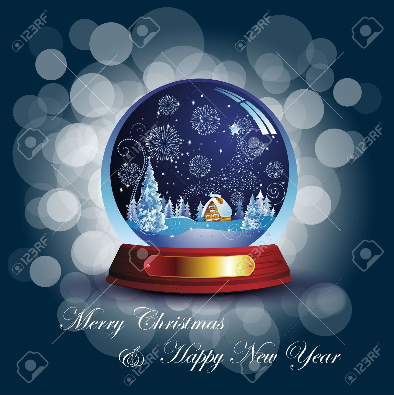 Christmas card with snow globe Stock Vector - 16185849