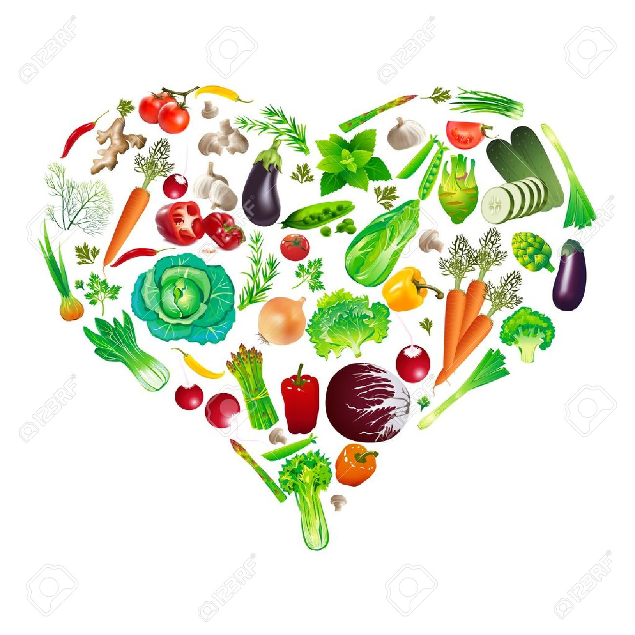 heart shape by various vegetables - 16293239