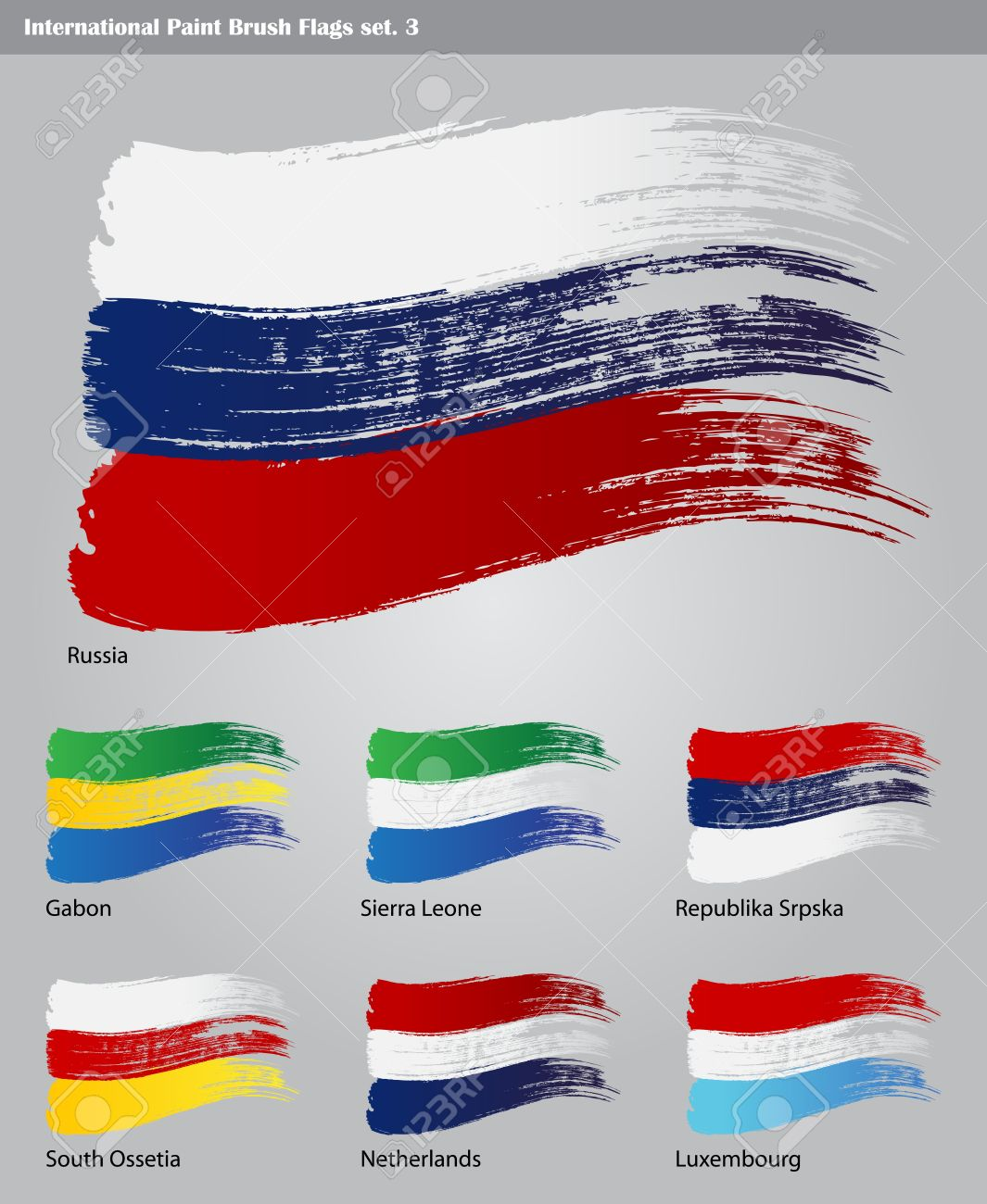 set of  International Paint Brush Flags Stock Vector - 16535797