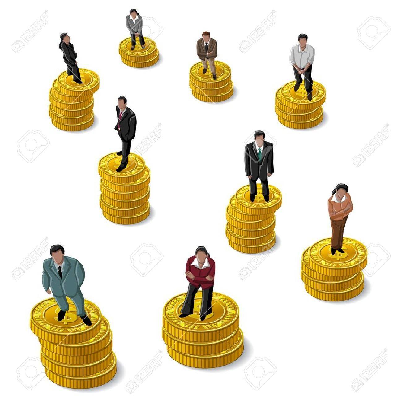 Businessman, Businesswoman standing on coin US Dollar Stock Vector - 16877690
