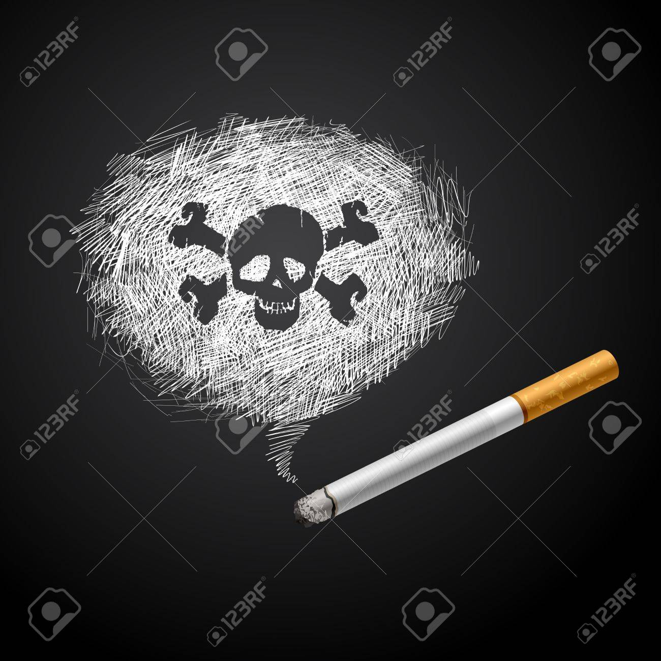 Cigarette with Smoke is line drawing and human scull on black Stock Vector - 16877689