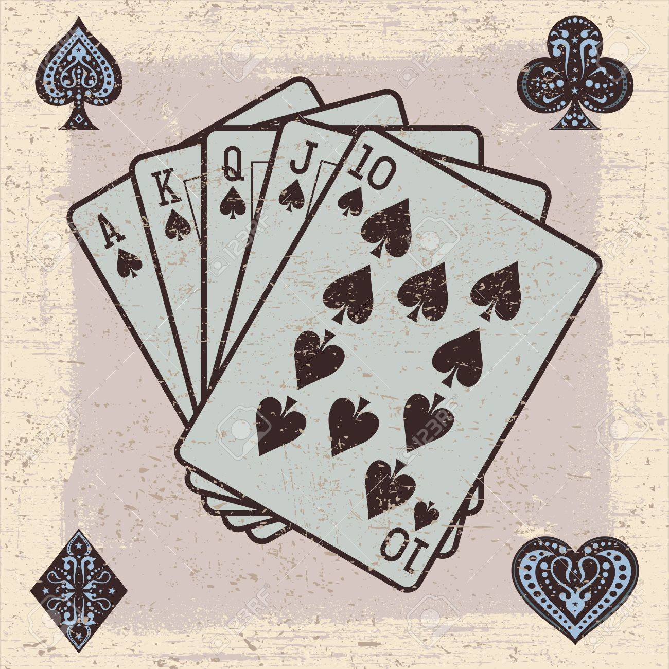 Illustrator of Playing Cards with Grunge Effect Stock Vector - 17176645