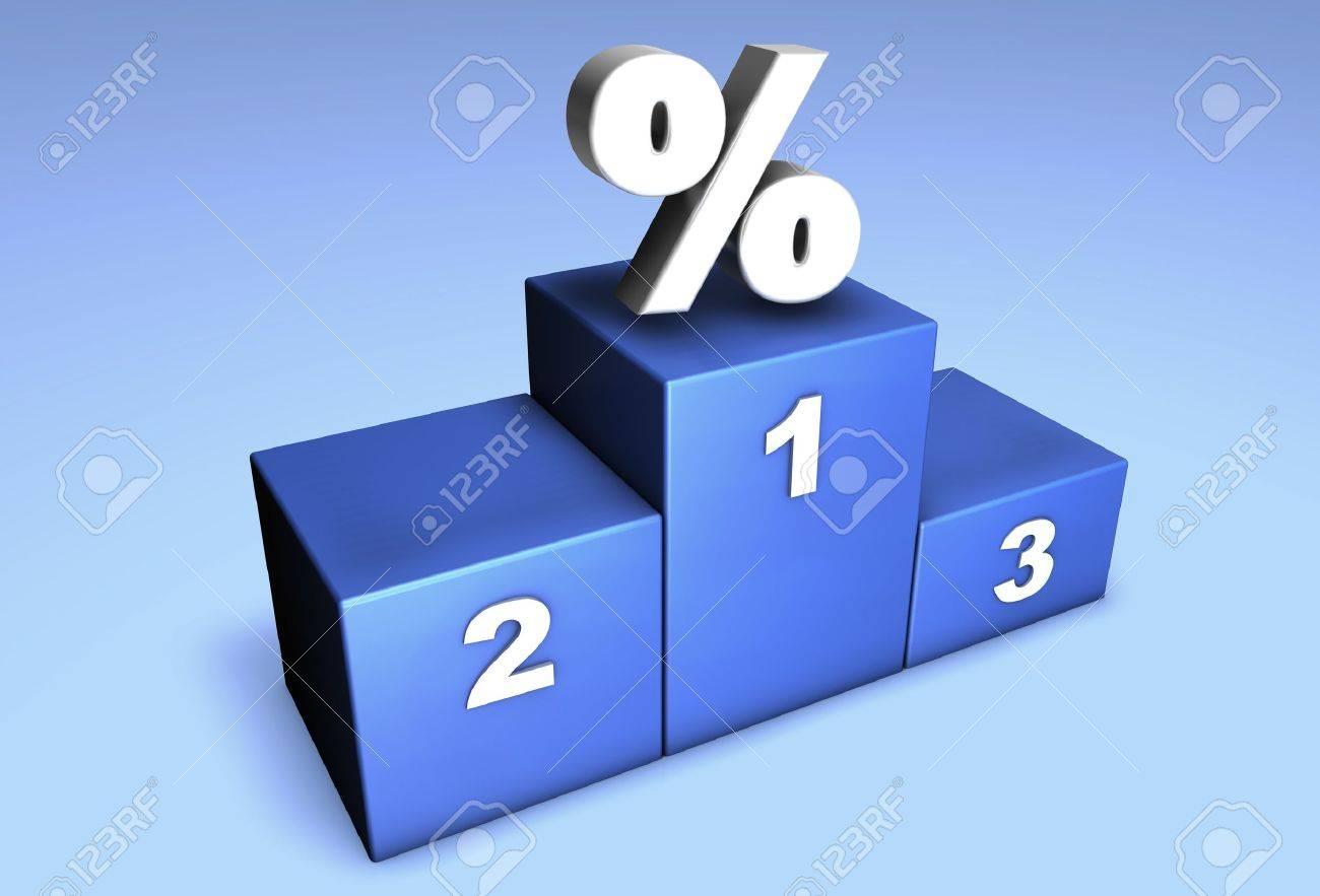 3d top position podium with percentage symbol for concept: champions of discount  or winner in market competition. Stock Photo - 10256496
