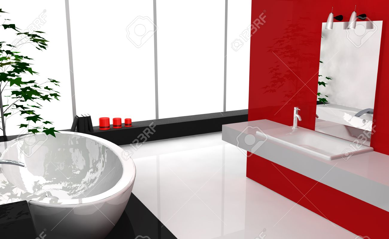 Modern Luxury Bathroom With Contemporary Design And Furniture ...