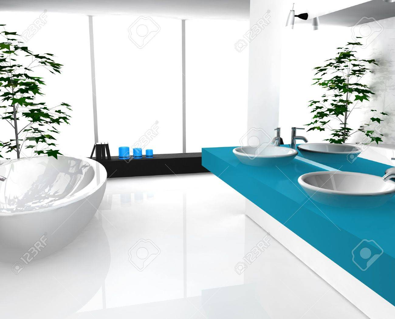 modern luxurious bathroom with contemporary design and furniture