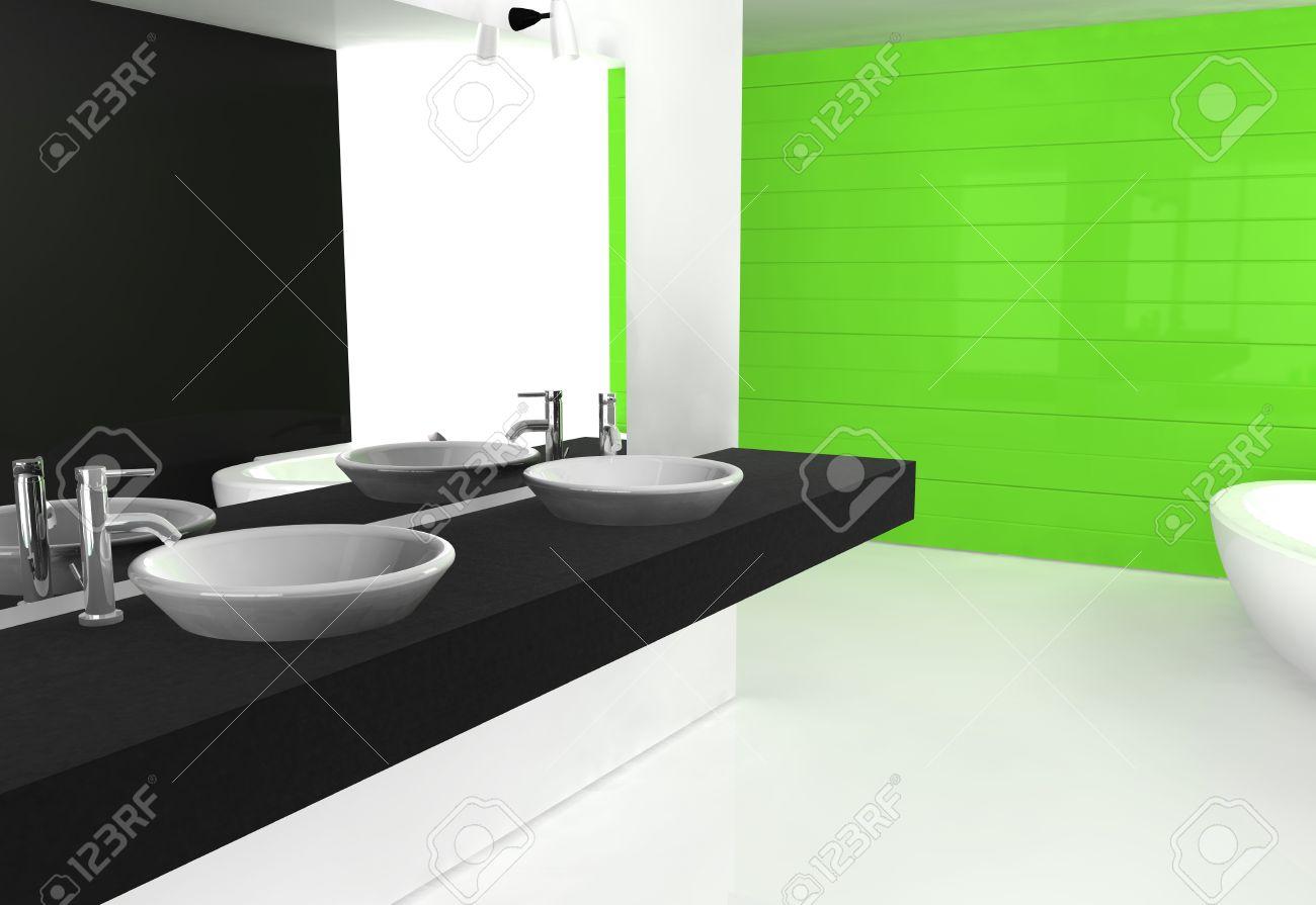 Modernt lyxigt badrum med modern design och möbler, färgad i svart ...
