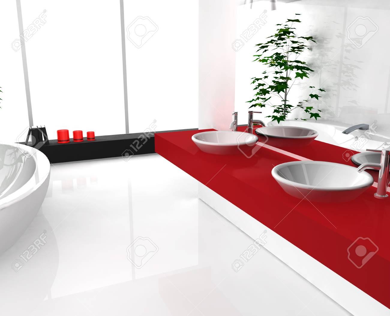 Moderne salle de bains luxueuse avec un design contemporain et mobilier,  coloré en noir, rouge et blanc, le rendu 3D.