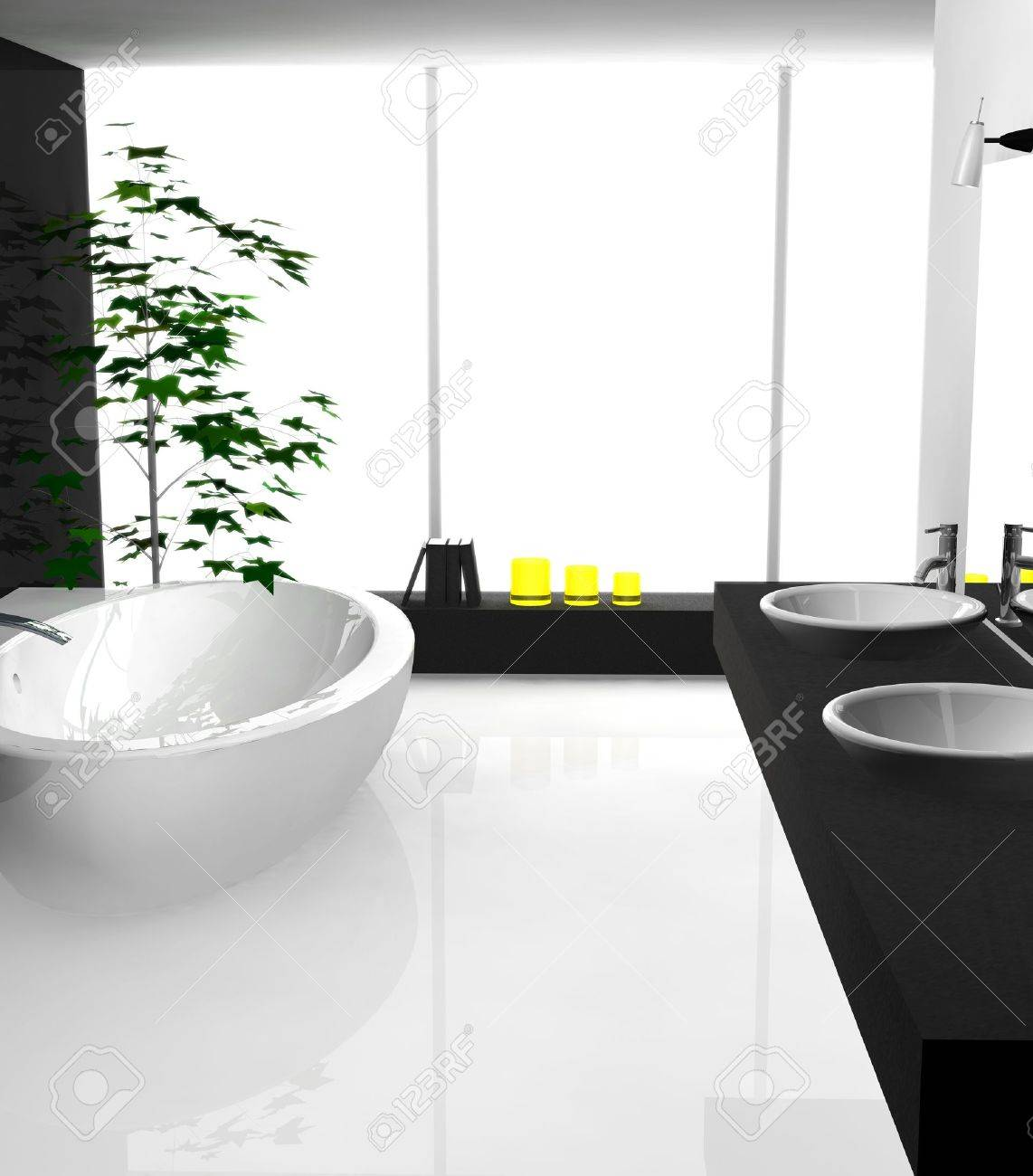 Modern Luxurious Bathroom With Contemporary Design And Furniture ...